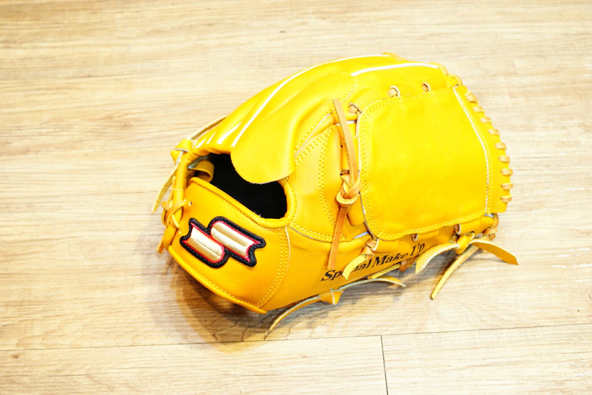 棒球世界全新SSK金標全牛皮棒壘球手套投手用 特價 原皮色 單片球檔 65折