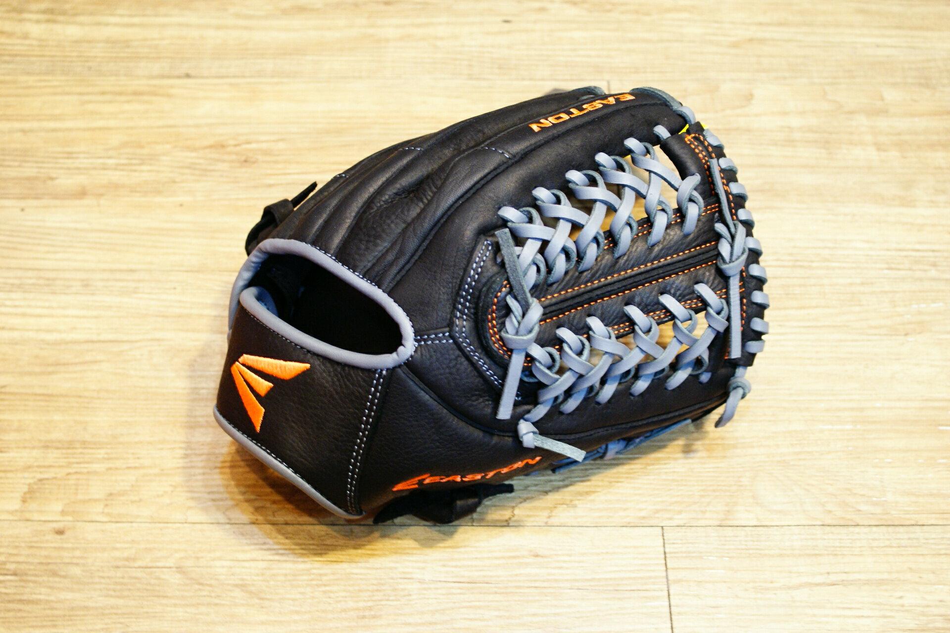 棒球世界 全新16年EASTON 美國進口牛皮內野手網狀手套 特價 黑灰配色