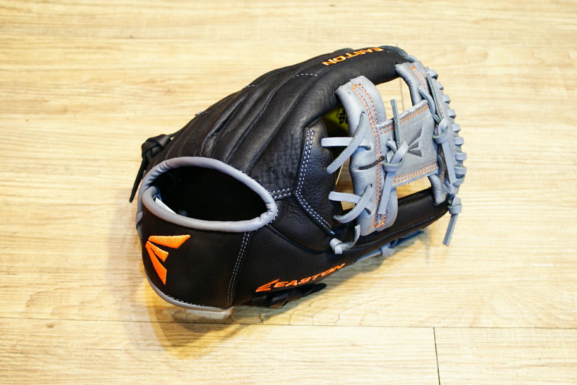 棒球世界 全新16年EASTON 美國進口牛皮內野手工字手套 特價 黑灰配色