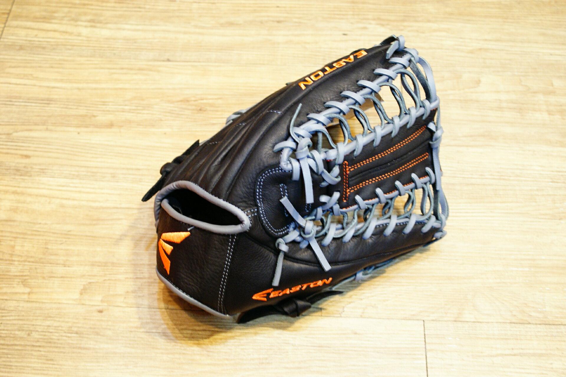 棒球世界 全新16年EASTON 美國進口牛皮外野手網狀手套 特價 黑灰配色
