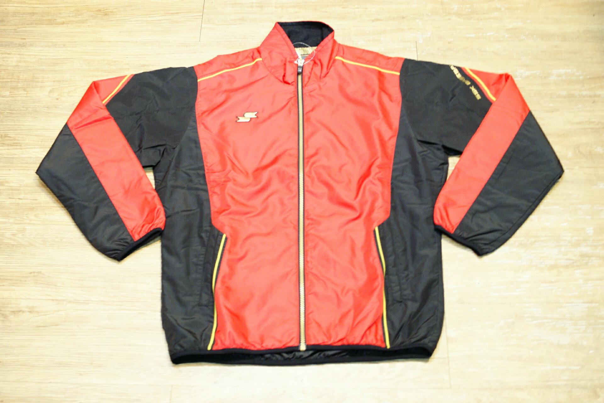 棒球世界 日本進口SSK鋪棉風衣夾克外套 特價 紅黑色
