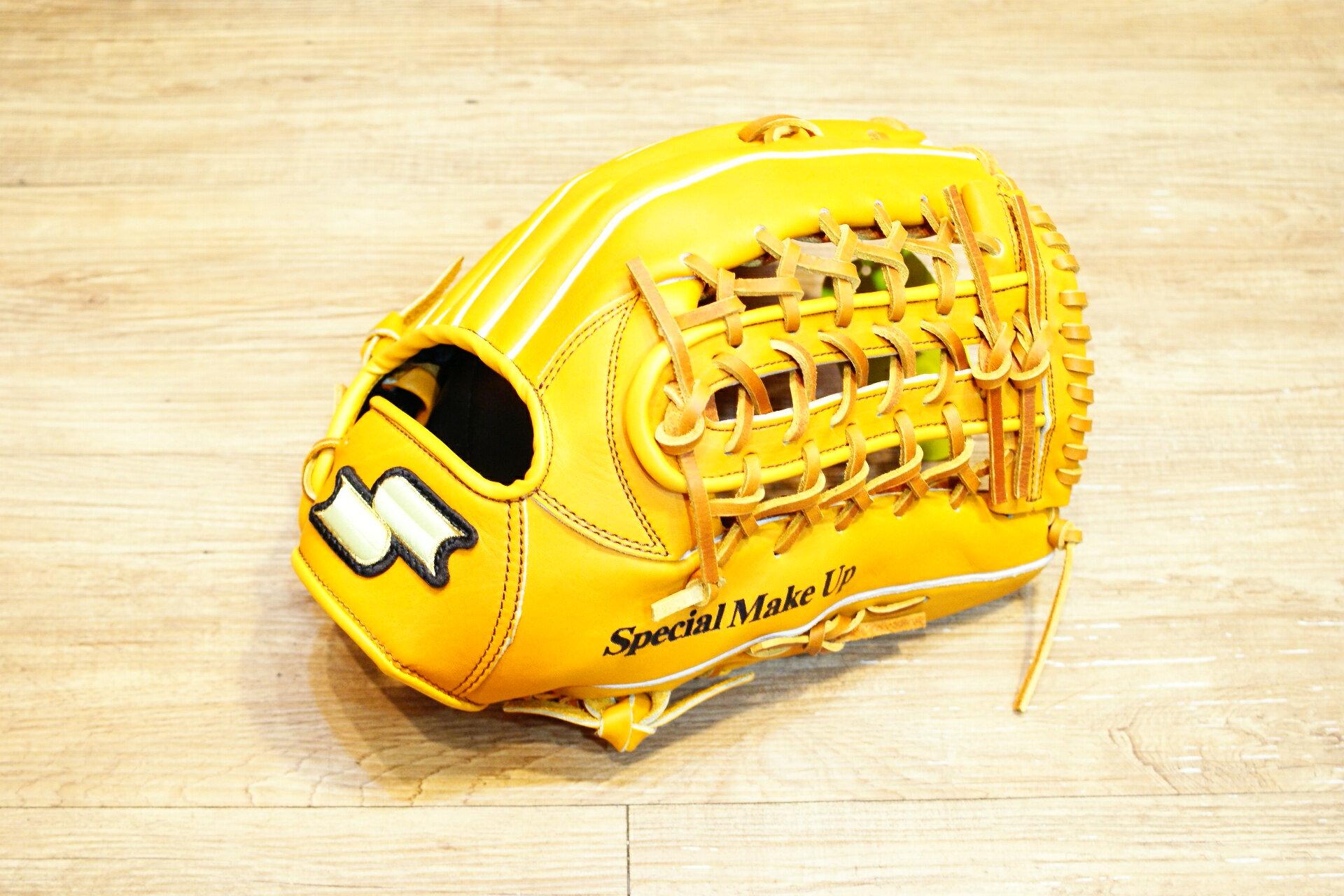 棒球世界 全新 店訂版SSK棒壘通用牛皮外野手套特價   U網檔 原皮色