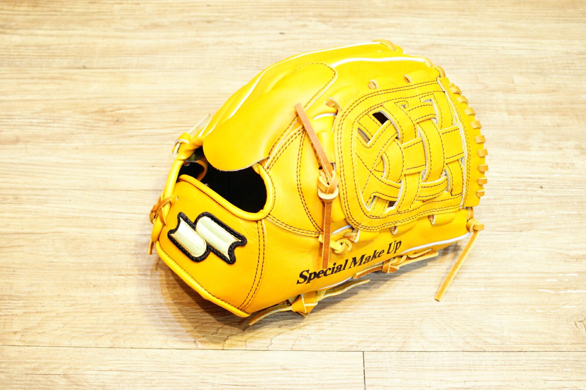棒球世界 全新 店訂版SSK棒壘通用牛皮手套特價投手 特殊檔  原皮色
