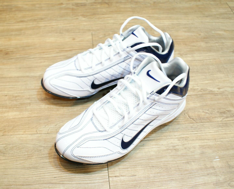 棒球世界2012 NIKE AIR BLUSTER V MCS 3/4棒壘專用膠釘鞋白/藍特價
