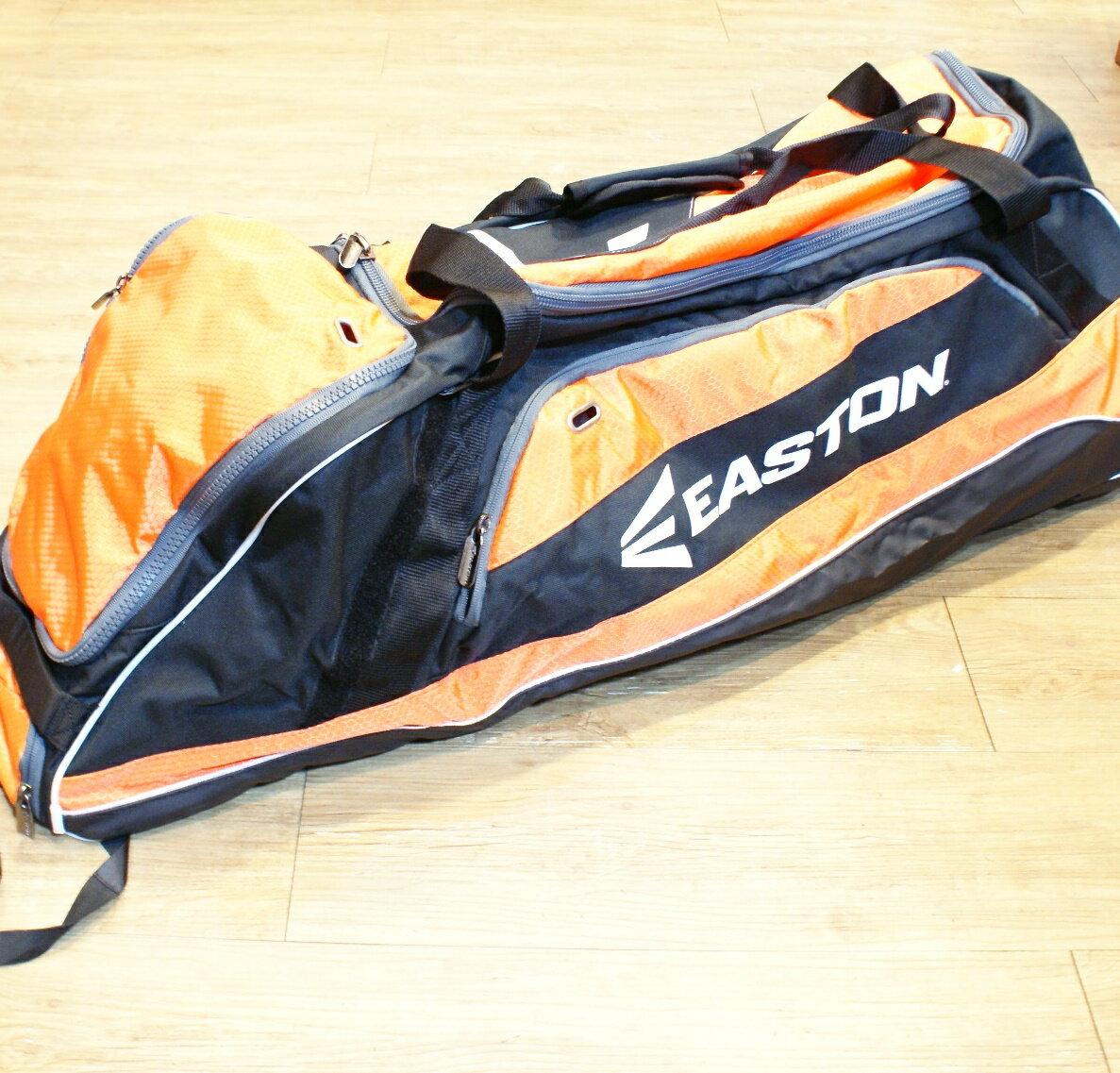 棒球世界 全新EASTON 2014年 進口 滾輪型 美式裝備袋 特價 黑橘配色