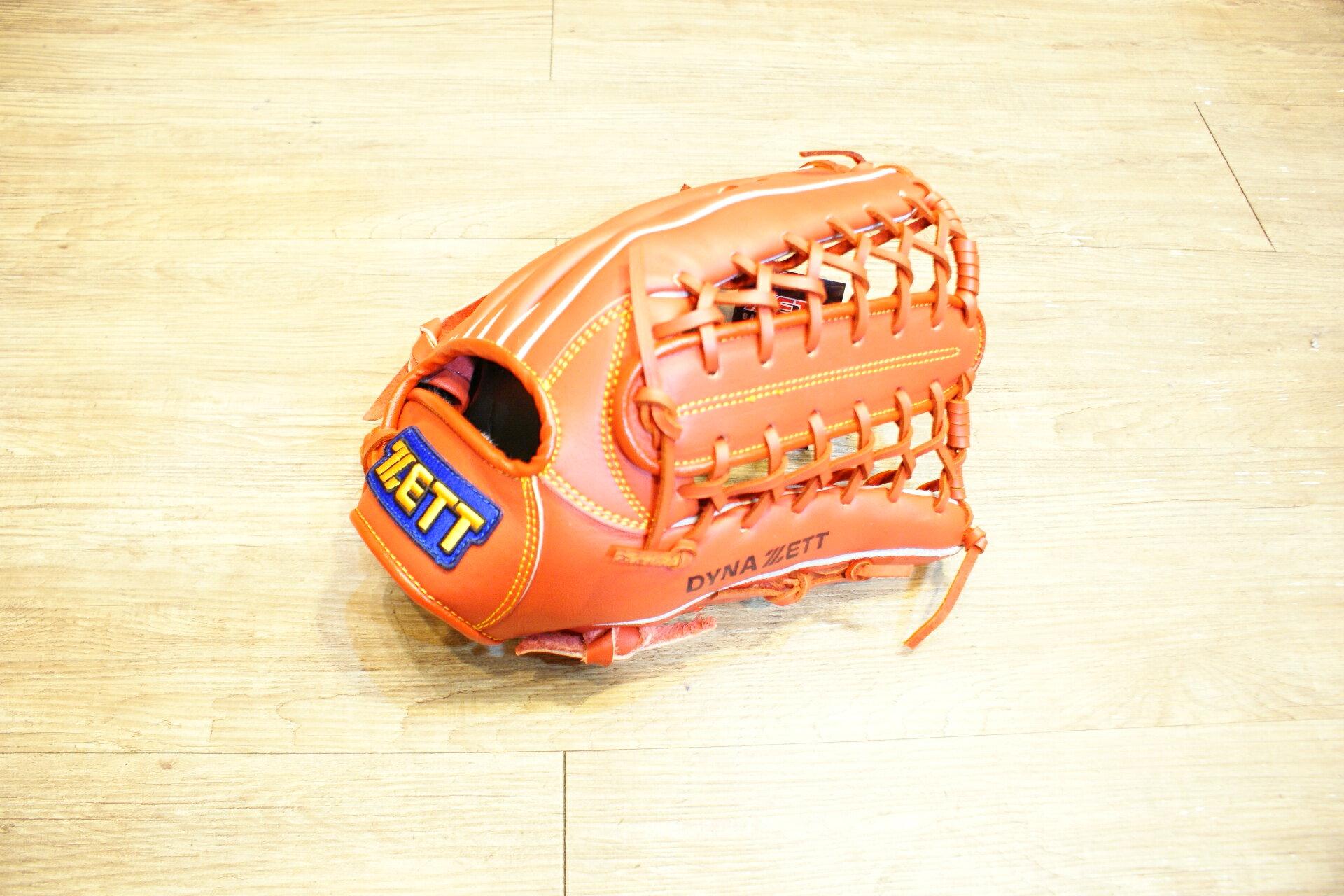 棒球世界 全新ZETT棒球外野手手套 橘色款 特價 牛舌檔