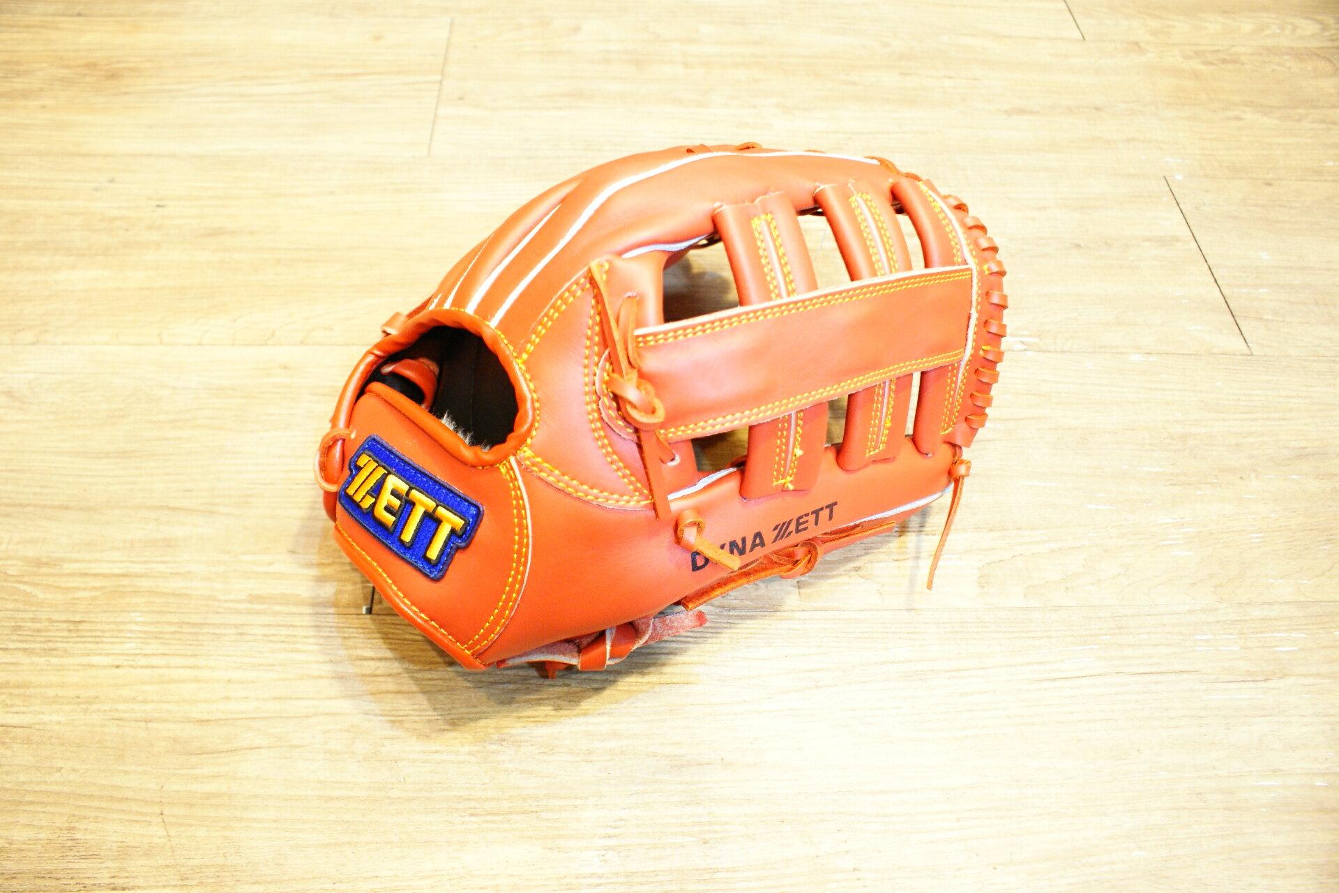 棒球世界 全新ZETT棒球外野手手套 橘色款 特價 雙十字檔