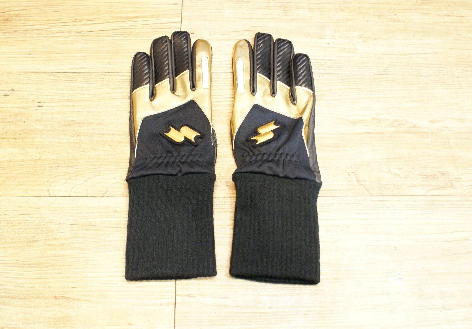 棒球世界全新SSK日本進口防寒手套 特價 黑金配色
