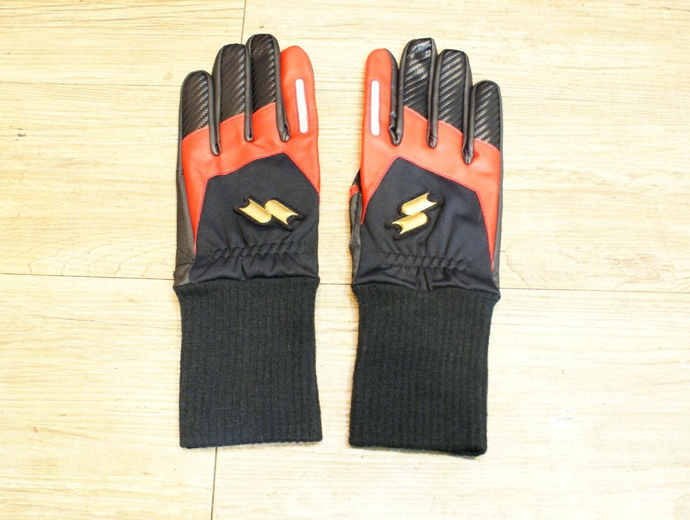 棒球世界全新SSK日本進口防寒手套 特價 黑紅配色