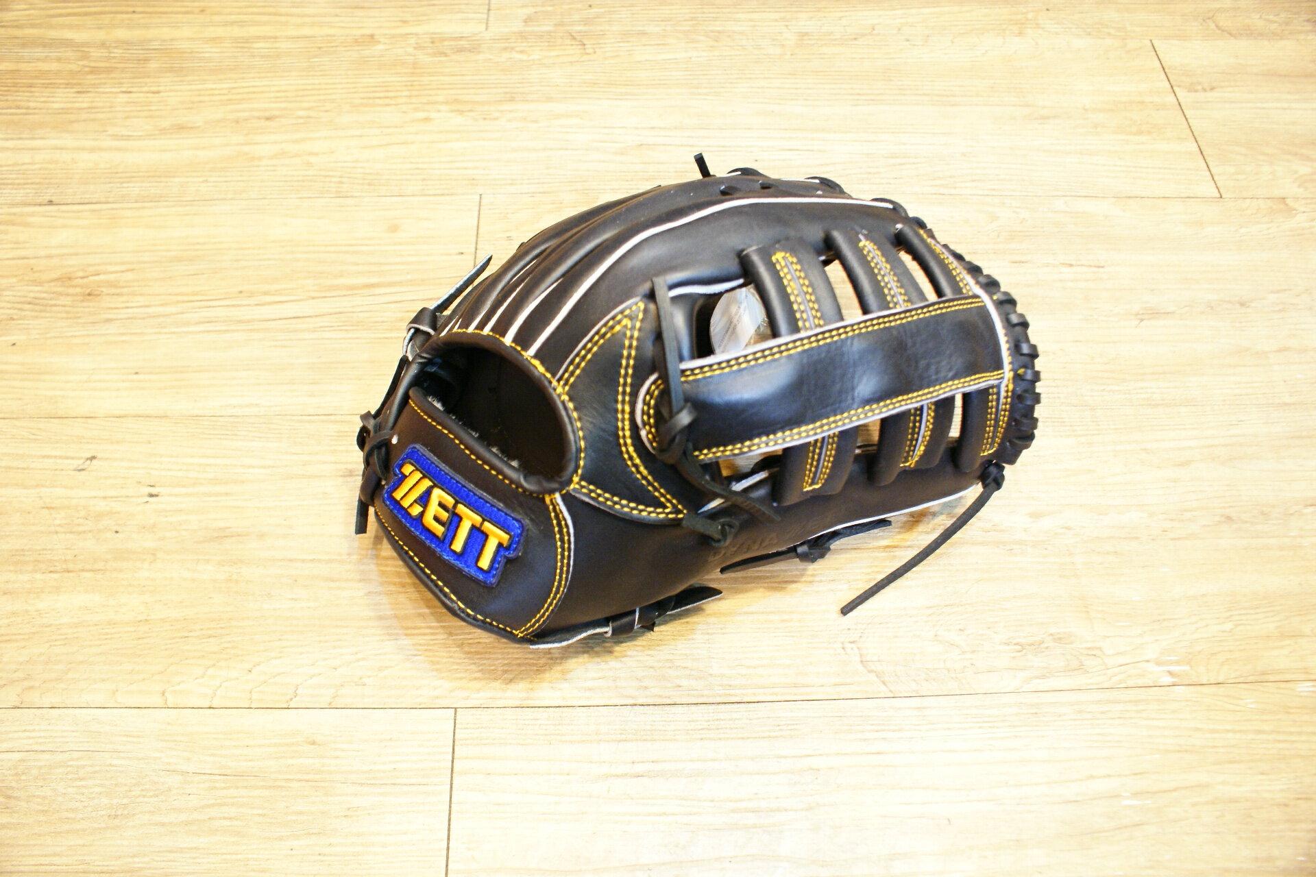 棒球世界 全新ZETT棒球外野手手套 黑色款 特價 雙十字檔