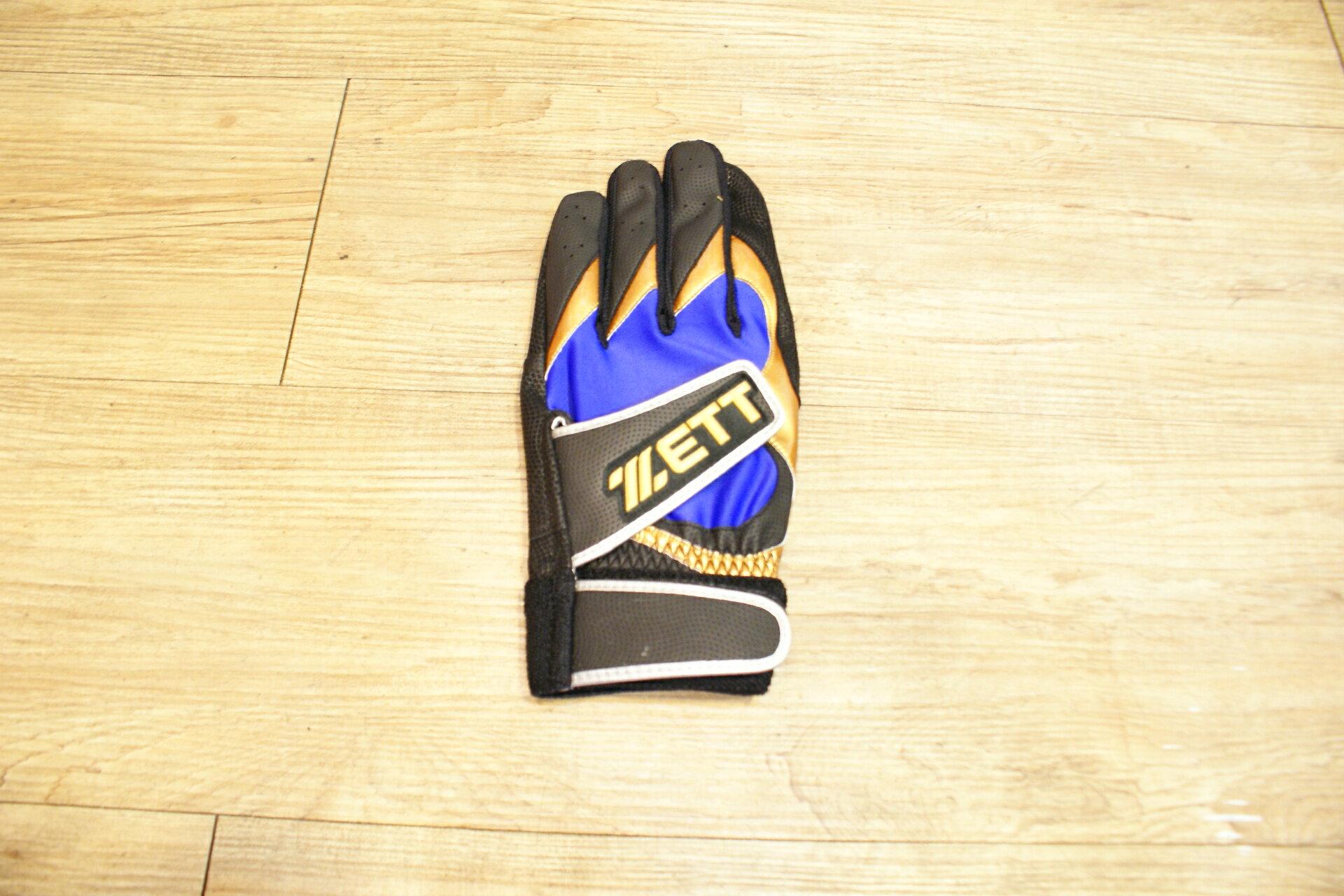 棒球世界 14年ZETT 進口山羊皮打擊手套 特價 雙魔鬼沾設計 黑藍配色