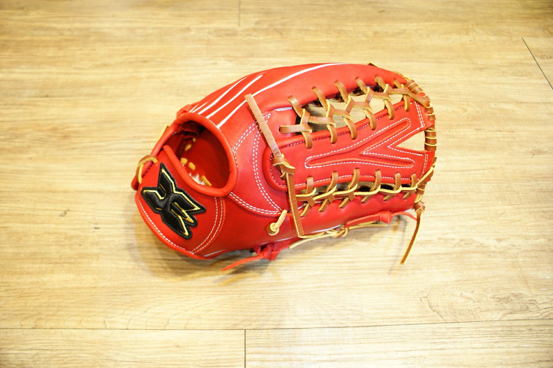 棒球世界 全新JAY棒壘球手套 外野Y字球檔紅色 特價 送油手套袋