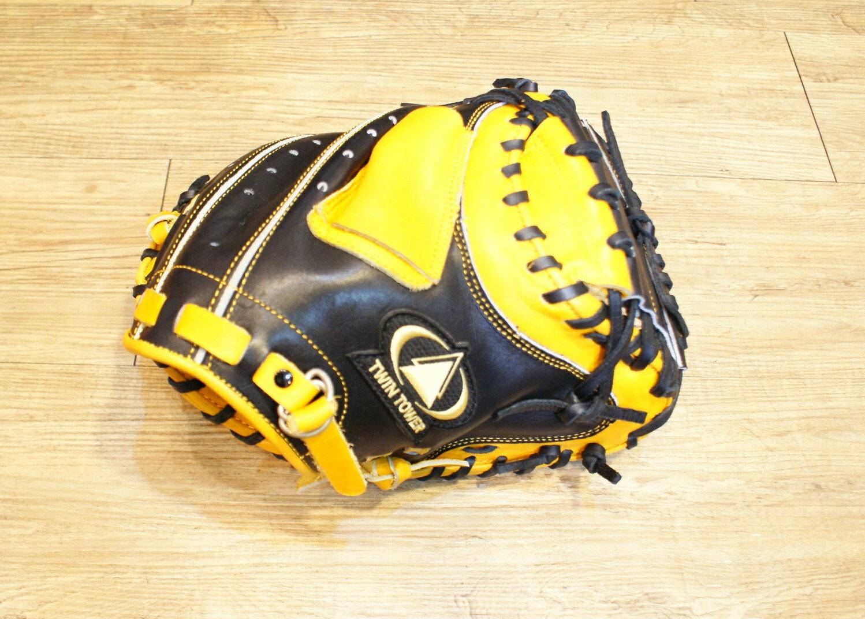 棒球世界 全新雙塔PRO級硬式捕手手套 特價 原皮黑配色