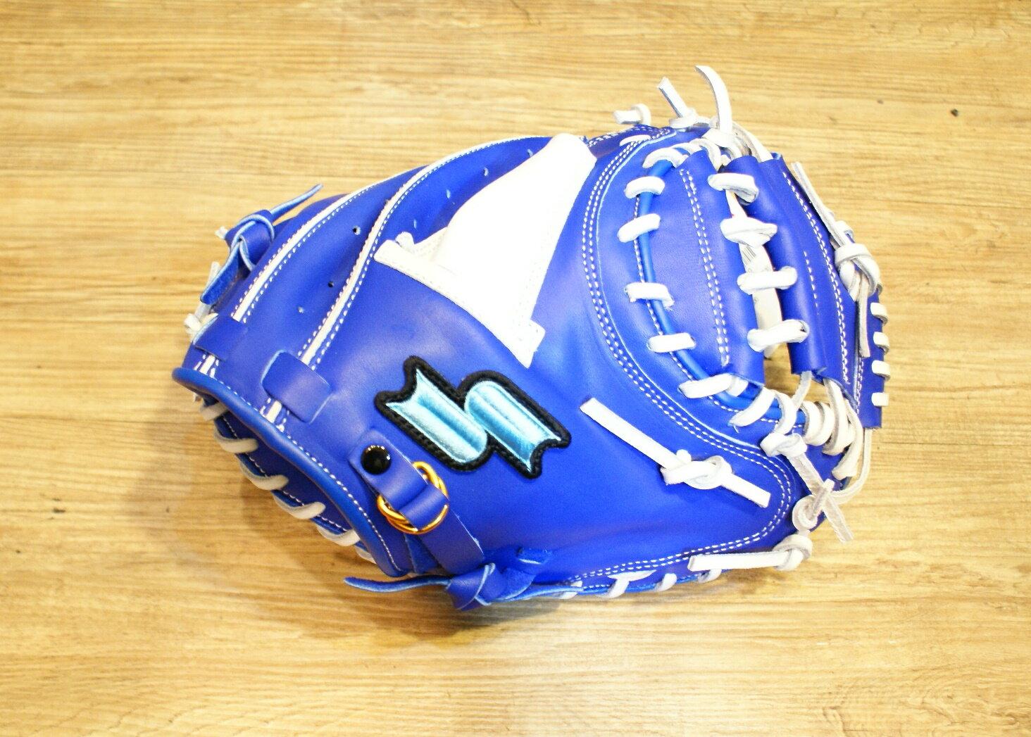 棒球世界 14年新款 SSK牛皮棒球捕手手套 WFF77 特價 藍白配色