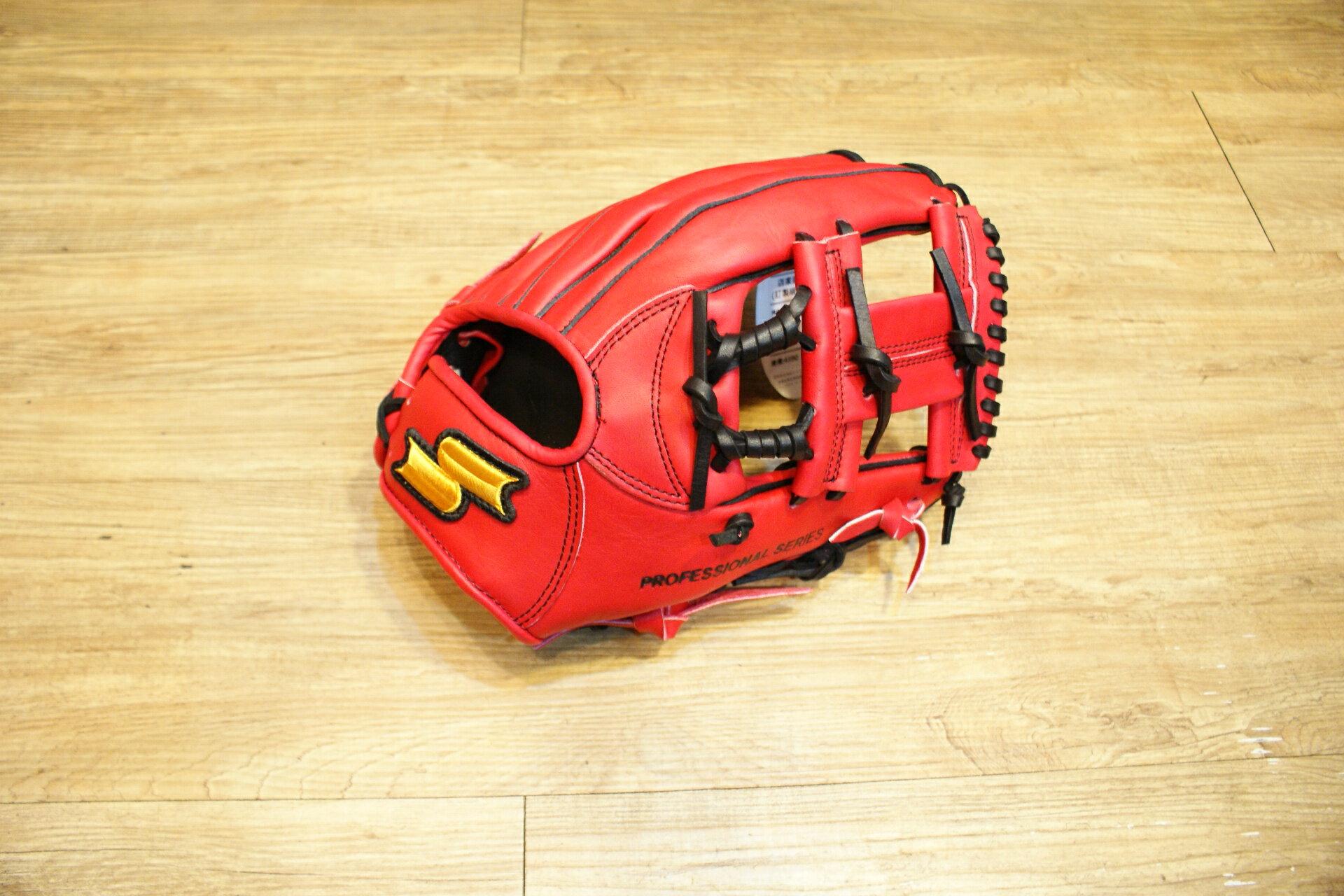 棒球世界 SSK金標 全牛皮 棒壘球手套 特價 工字檔 紅色