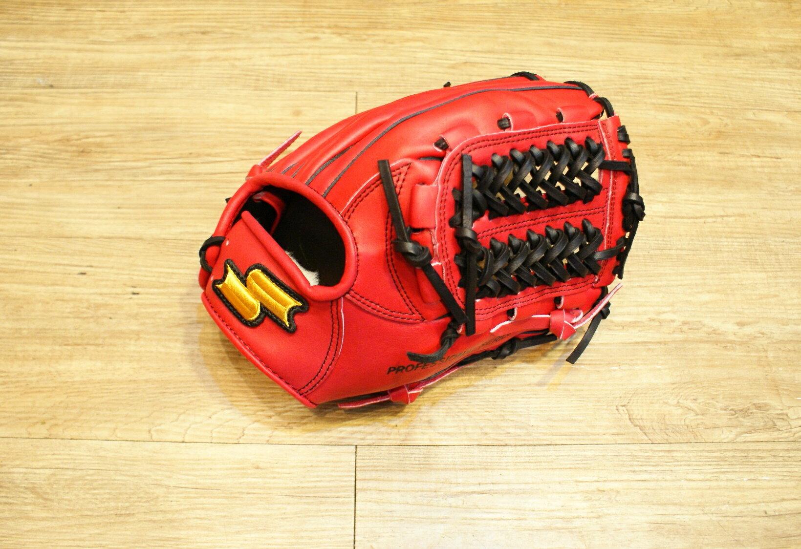 棒球世界 SSK金標 全牛皮 棒壘球手套 特價 密網檔 紅色