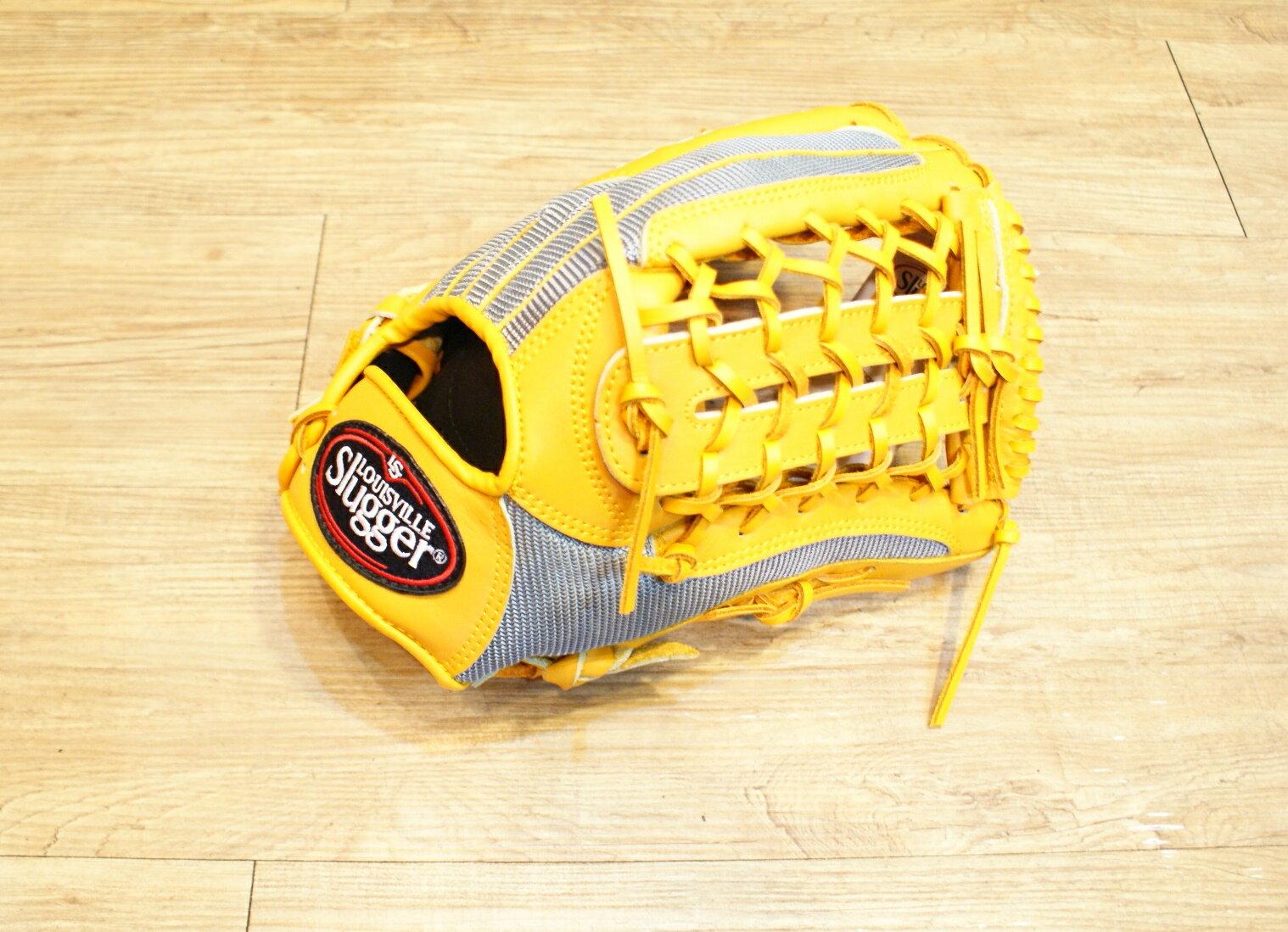 棒球世界 Louisvill Slugger 路易斯威爾TPX 布織布 外野T網棒壘球手套 特價 黃銀配