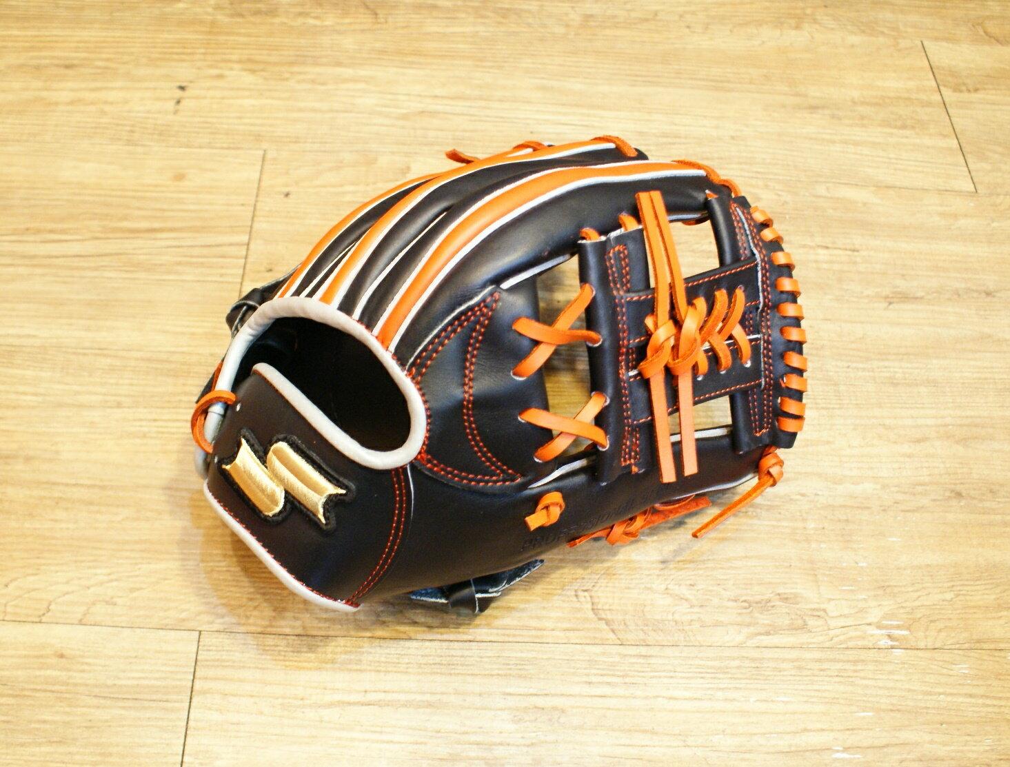 棒球世界全新店訂版SSK全牛皮硬式手套 特價 內野手黑橘配色