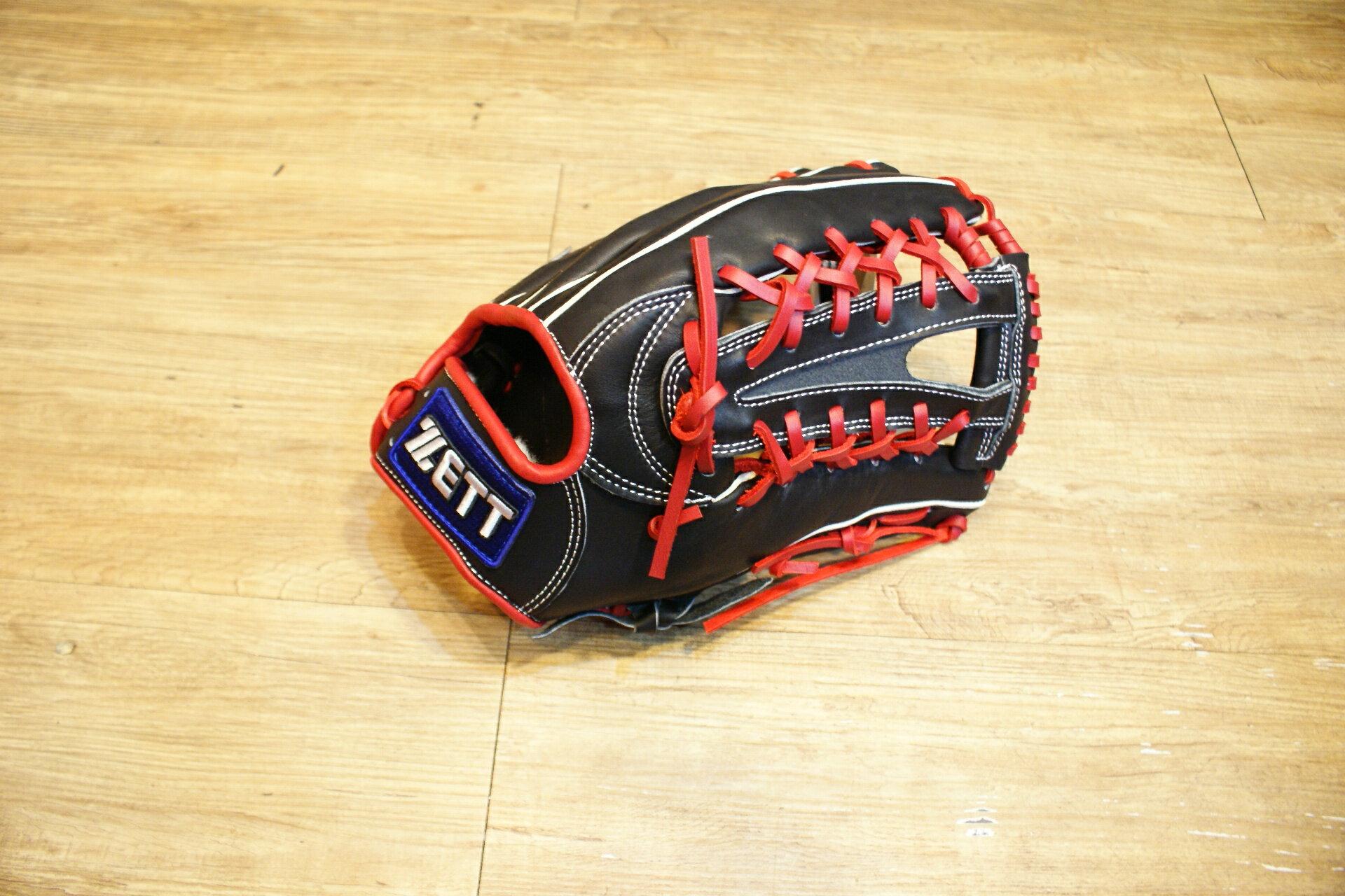 棒球世界全新店訂版ZETT全牛皮硬式手套 特價 外野手 黑紅配色