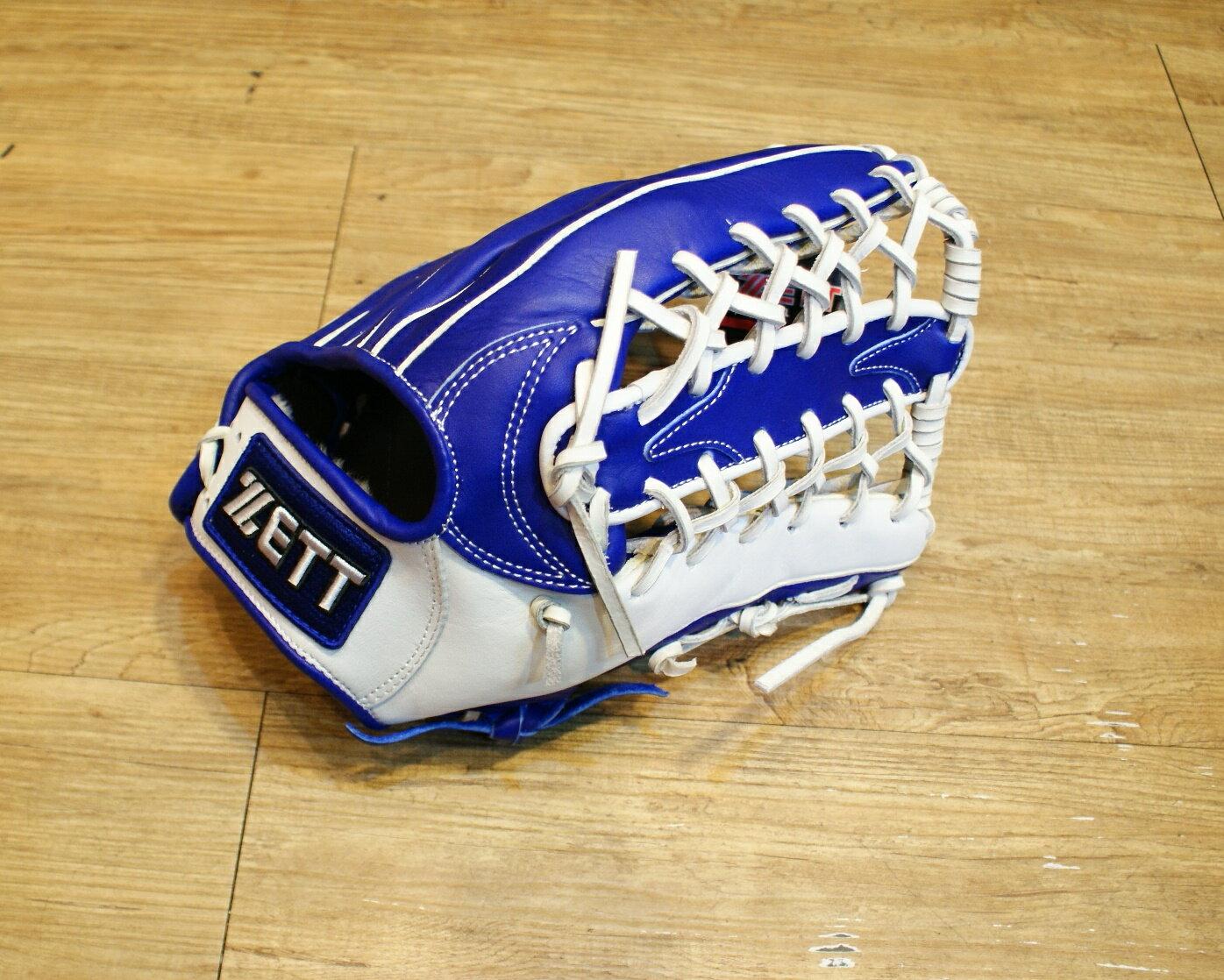 棒球世界全新店訂版ZETT全牛皮硬式手套 特價 外野牛舌 白藍配色