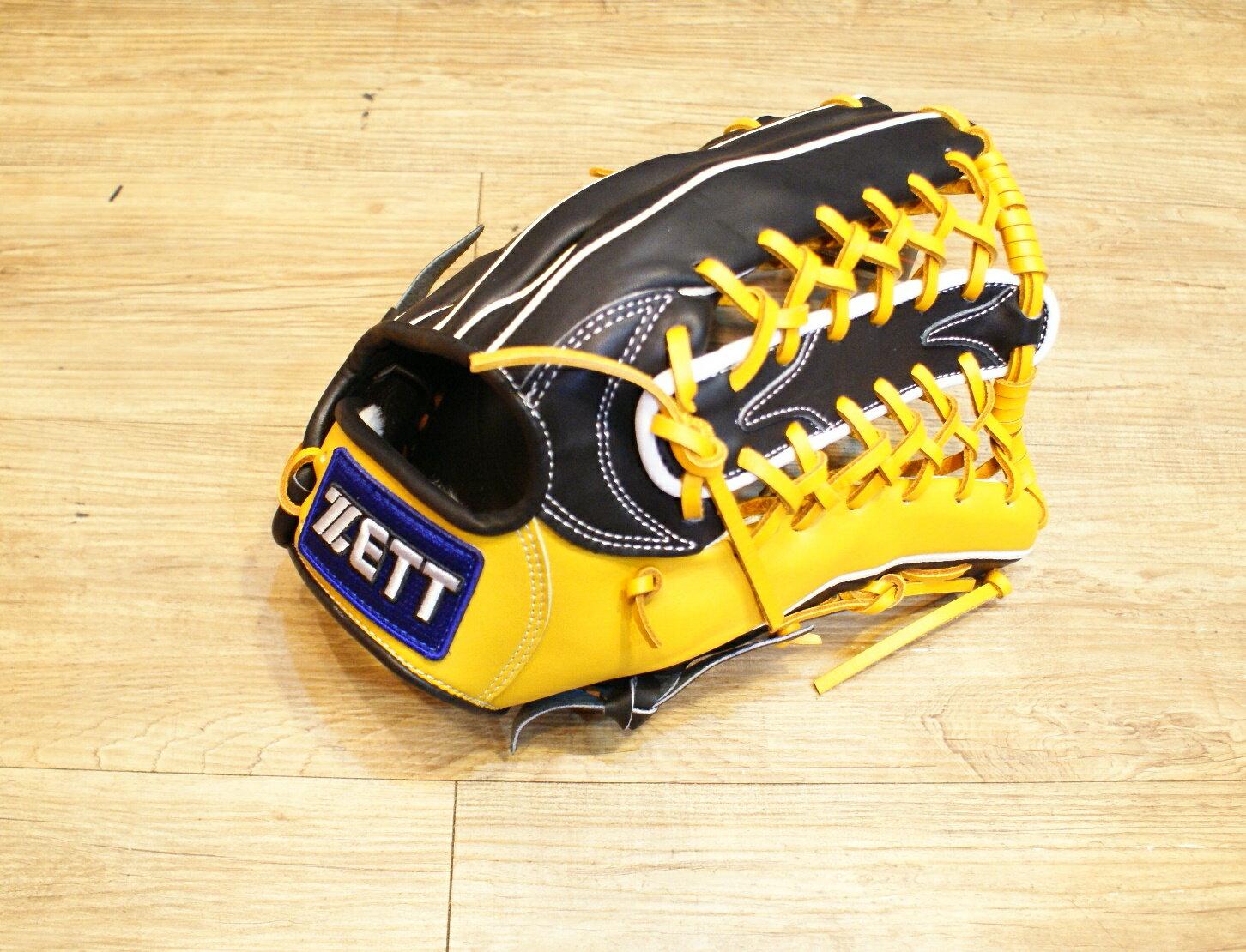 棒球世界全新店訂版ZETT全牛皮硬式手套 特價 外野牛舌 黑黃配色