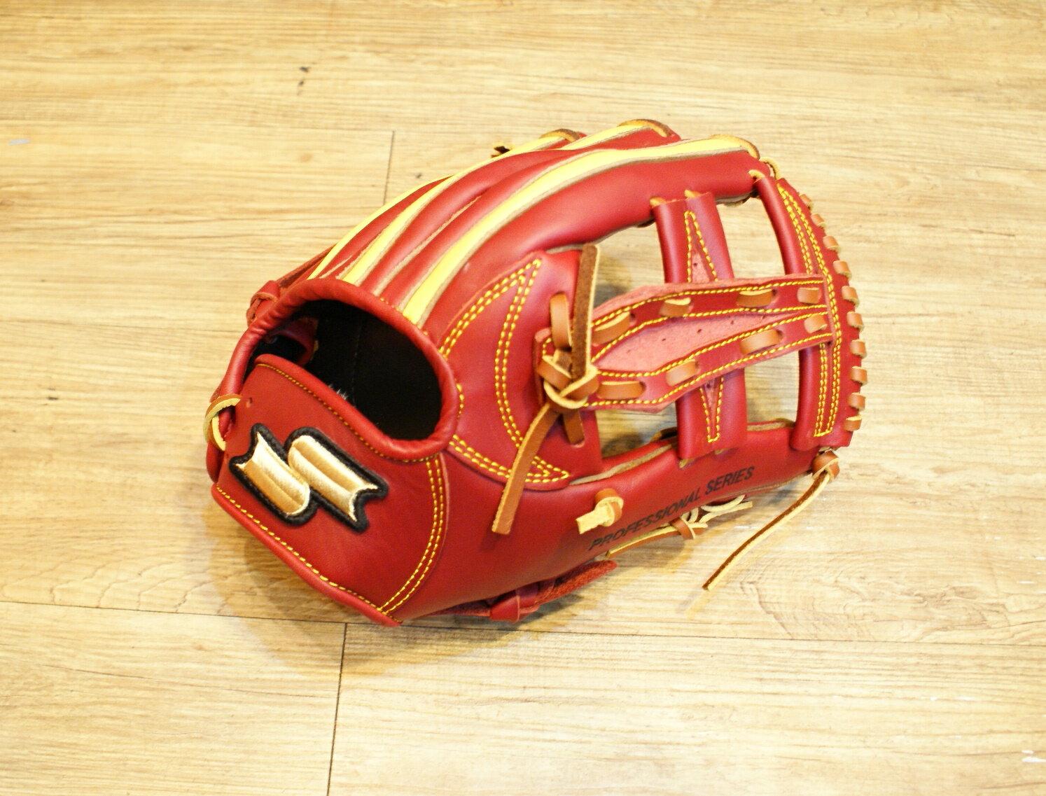 棒球世界全新店訂版SSK全牛皮硬式手套 特價 內野棗紅配色