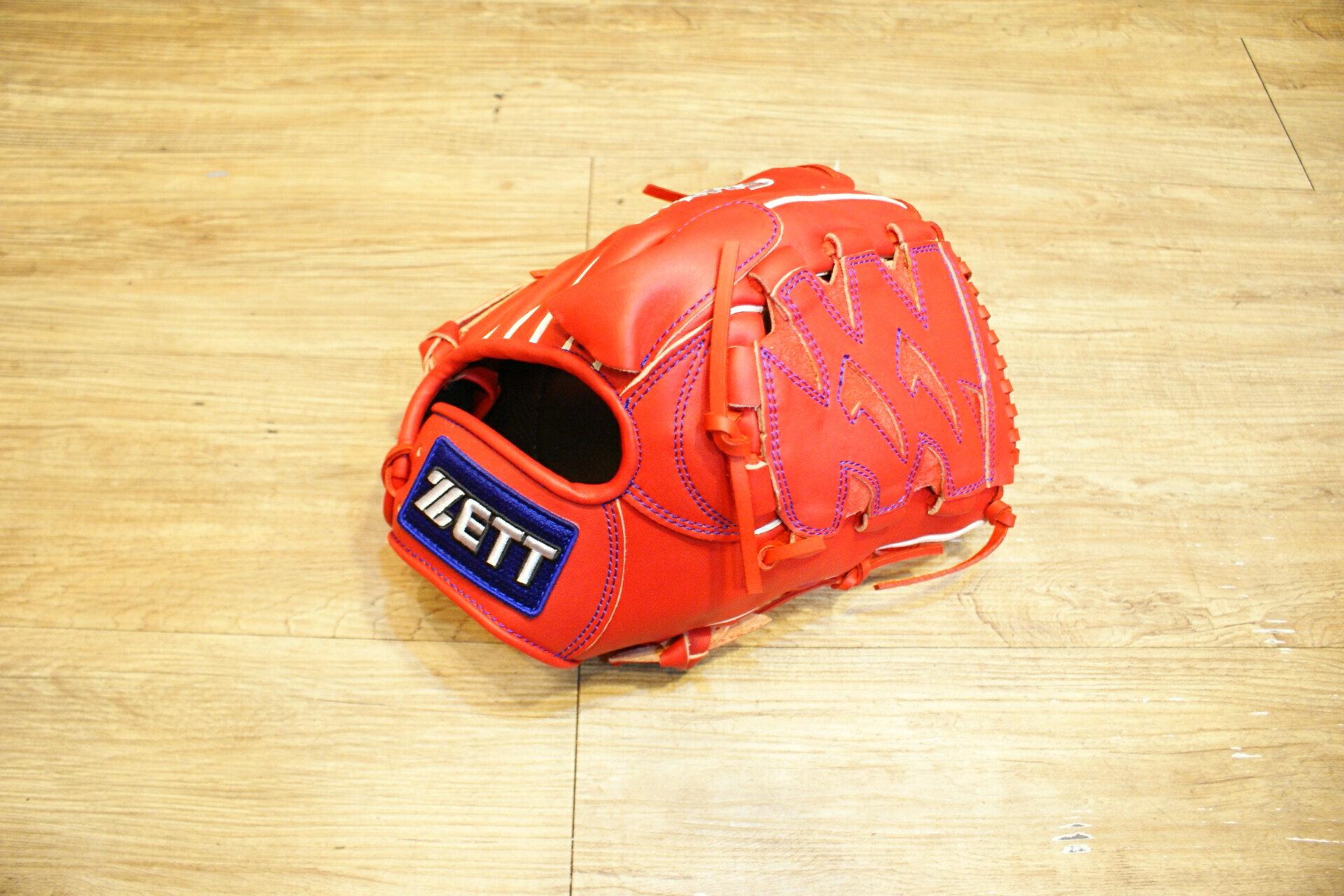 棒球世界全新店訂版ZETT全牛皮硬式手套 特價 投手紅色