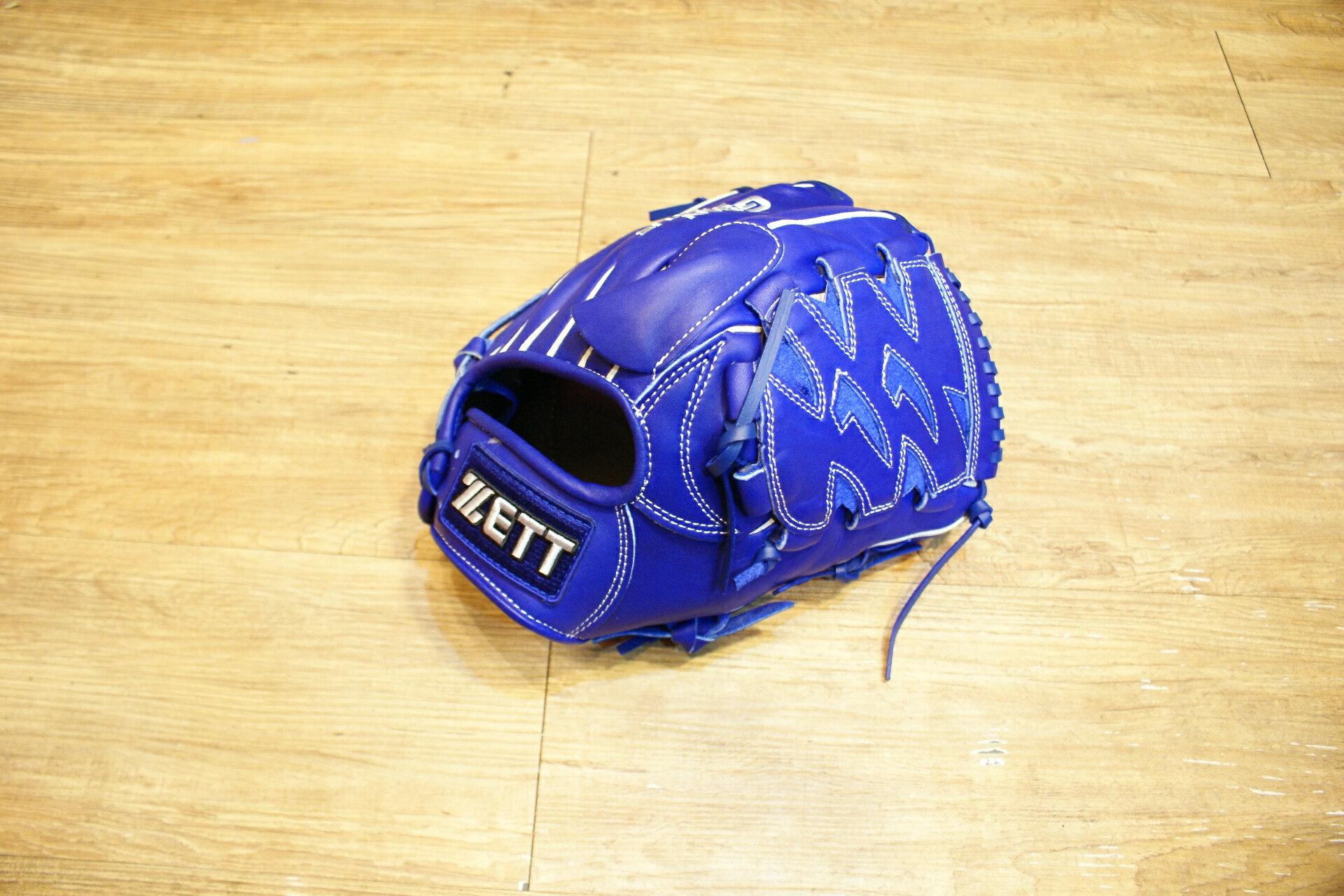 棒球世界全新店訂版ZETT全牛皮硬式手套 特價 投手藍色