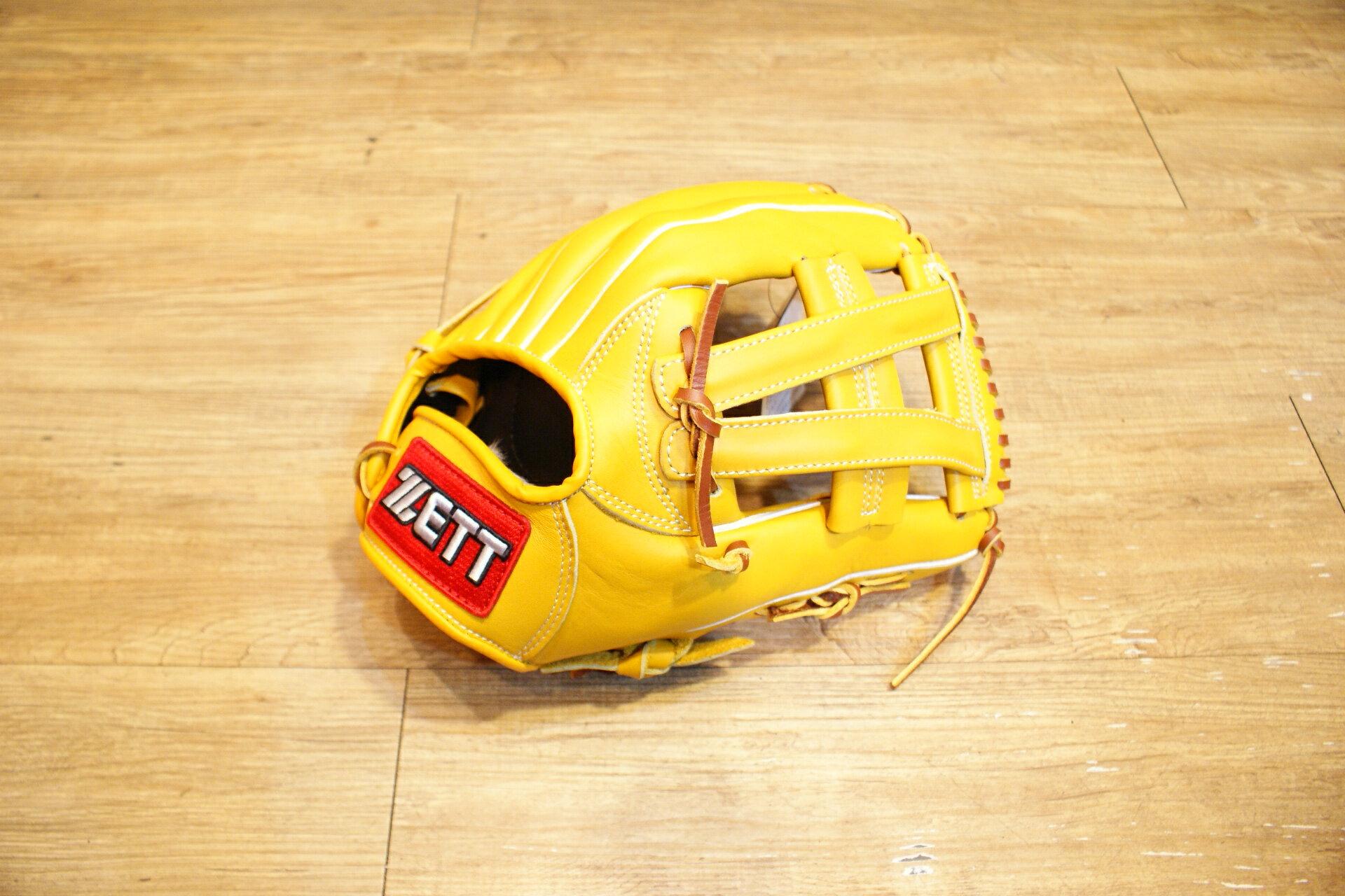 棒球世界 全新zett原皮色棒壘球手套 特價 V字檔 12.25吋