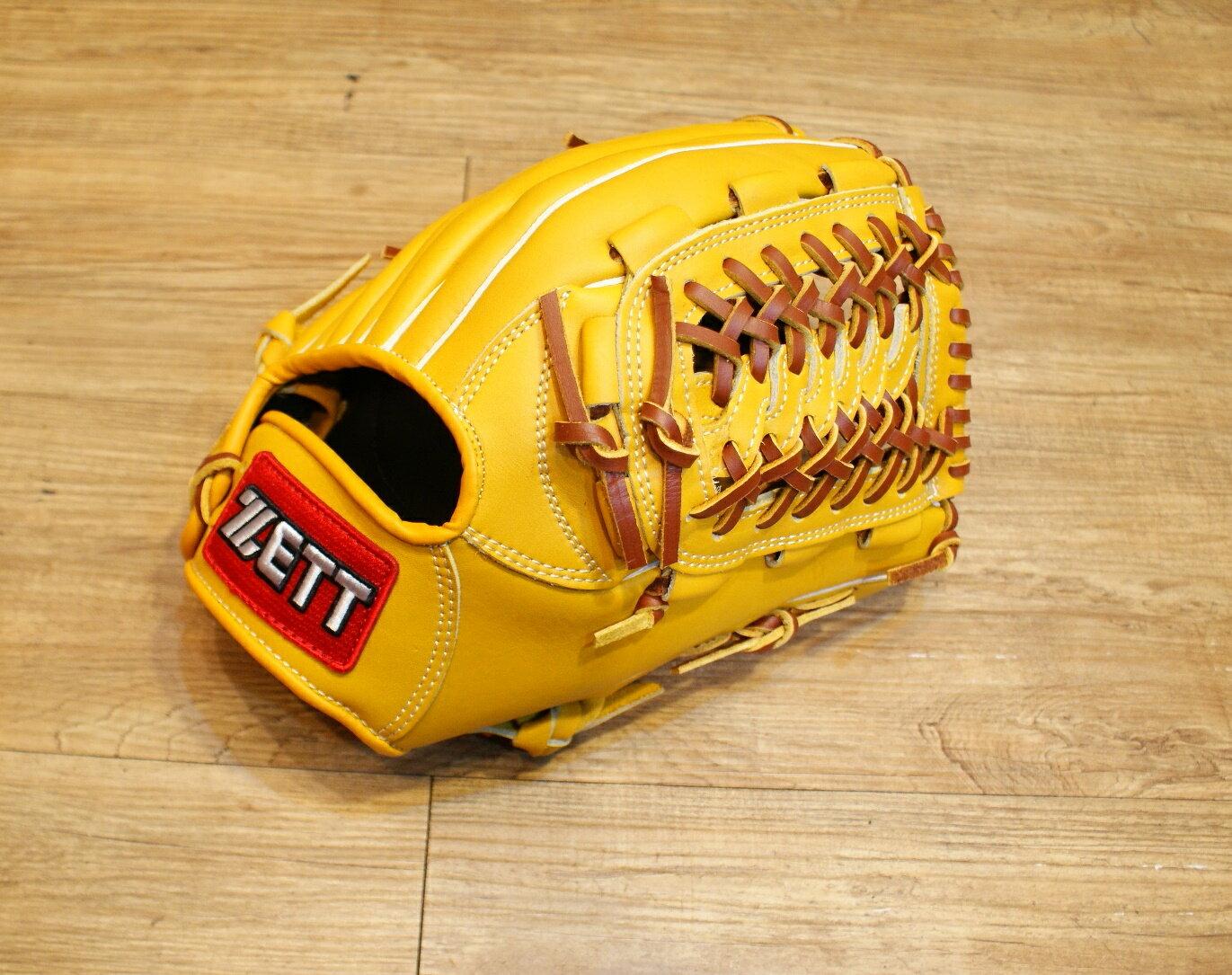 棒球世界 全新zett原皮色棒壘球手套 特價 蛇紋檔 12.25吋