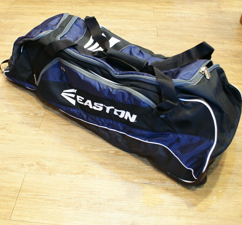 棒球世界 全新EASTON 2014年 進口 滾輪型 美式裝備袋 特價 黑藍配色