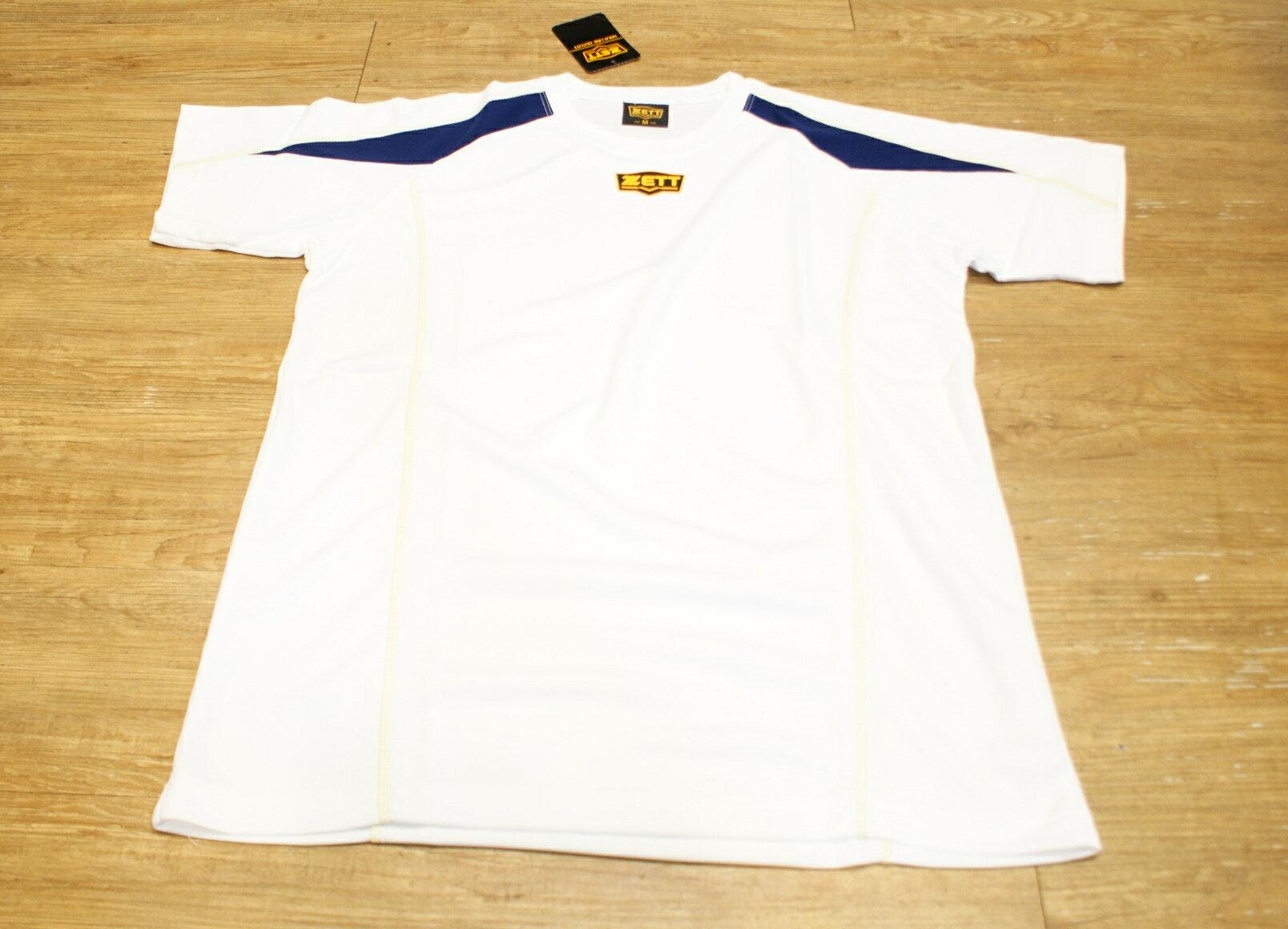 棒球世界全新ZETT金標短袖練習衣特價白色
