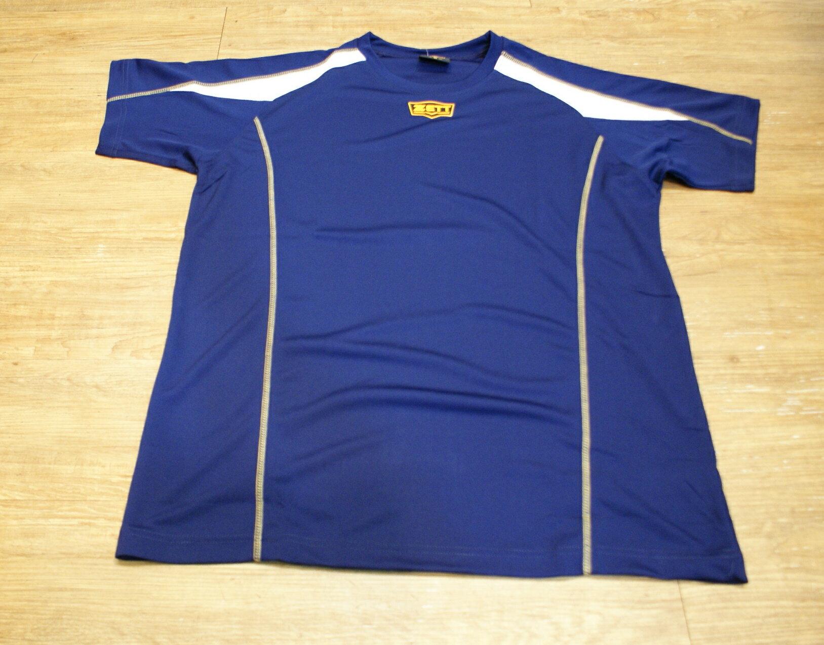 棒球世界全新ZETT金標短袖練習衣特價  丈青色