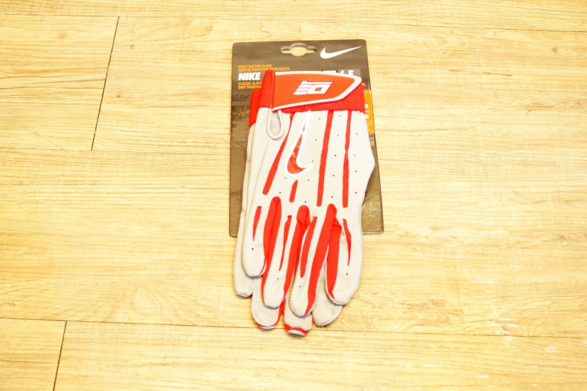 棒球世界 Nike DIAMOND 最新款打擊手套每雙特價 紅灰色