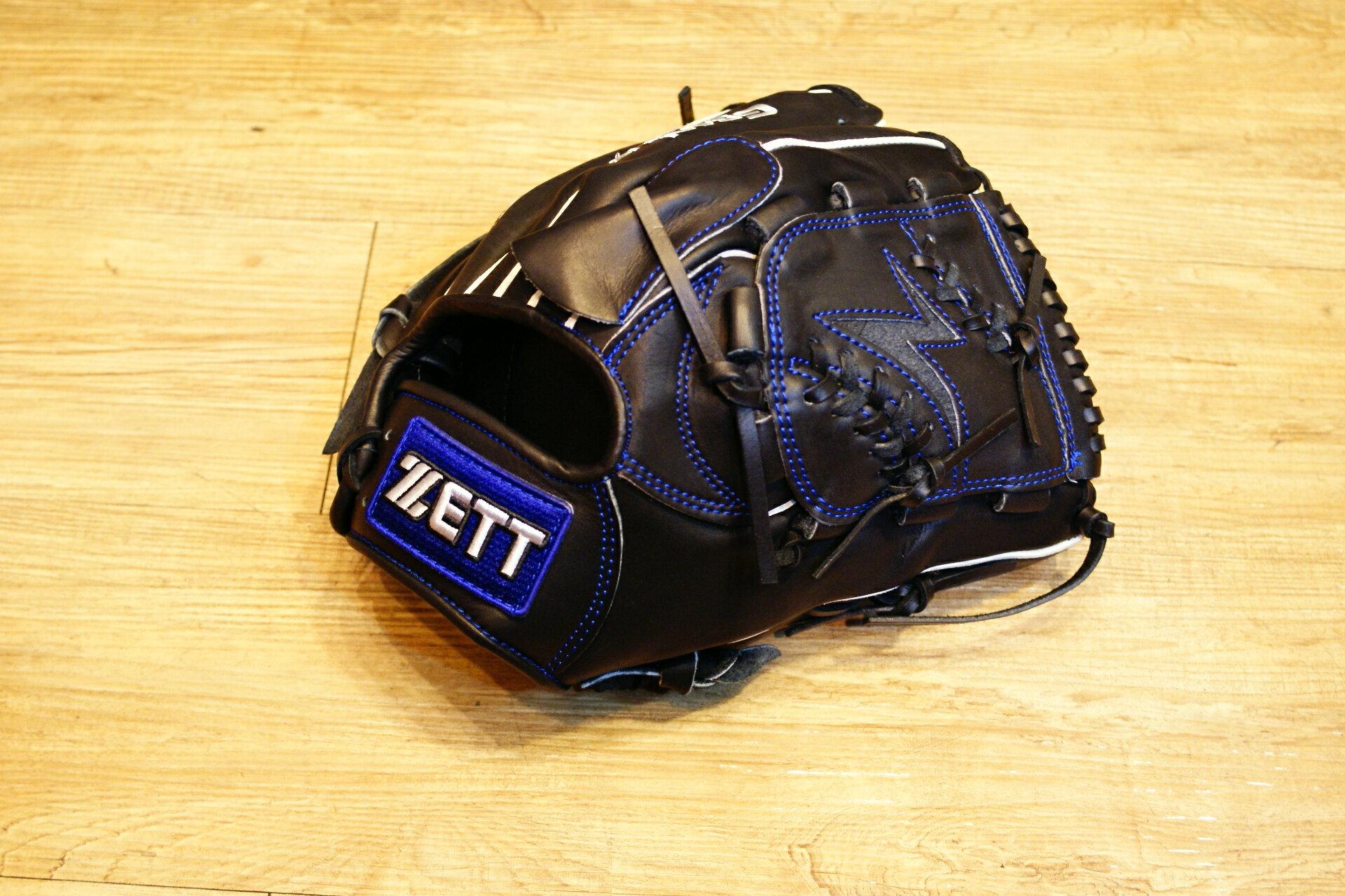 棒球世界全新店訂版ZETT全牛皮硬式手套 特價 投手黑色 限量