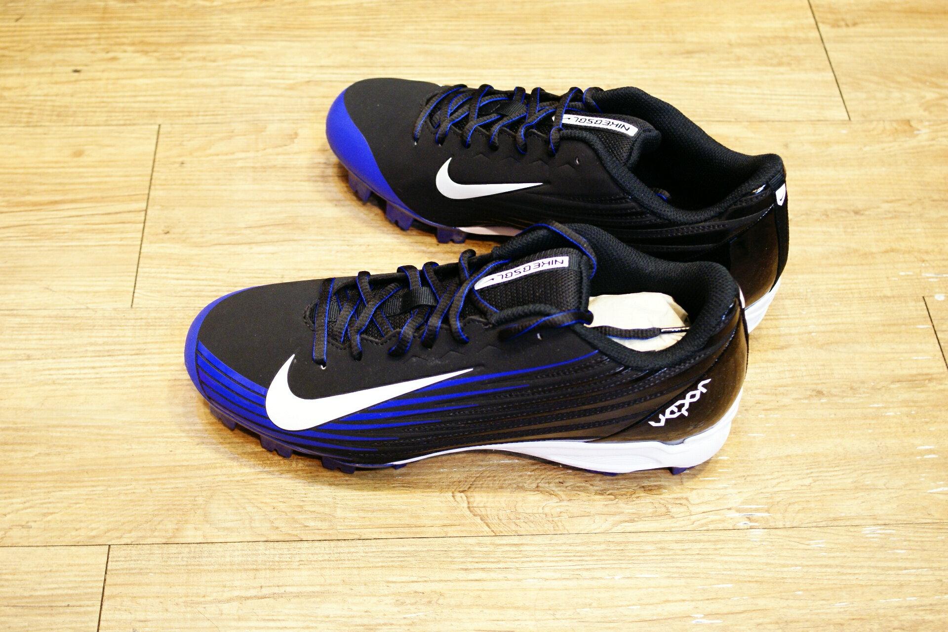 棒球世界14年新款 nike vapor strike 黑藍配色 膠釘壘球鞋 特價
