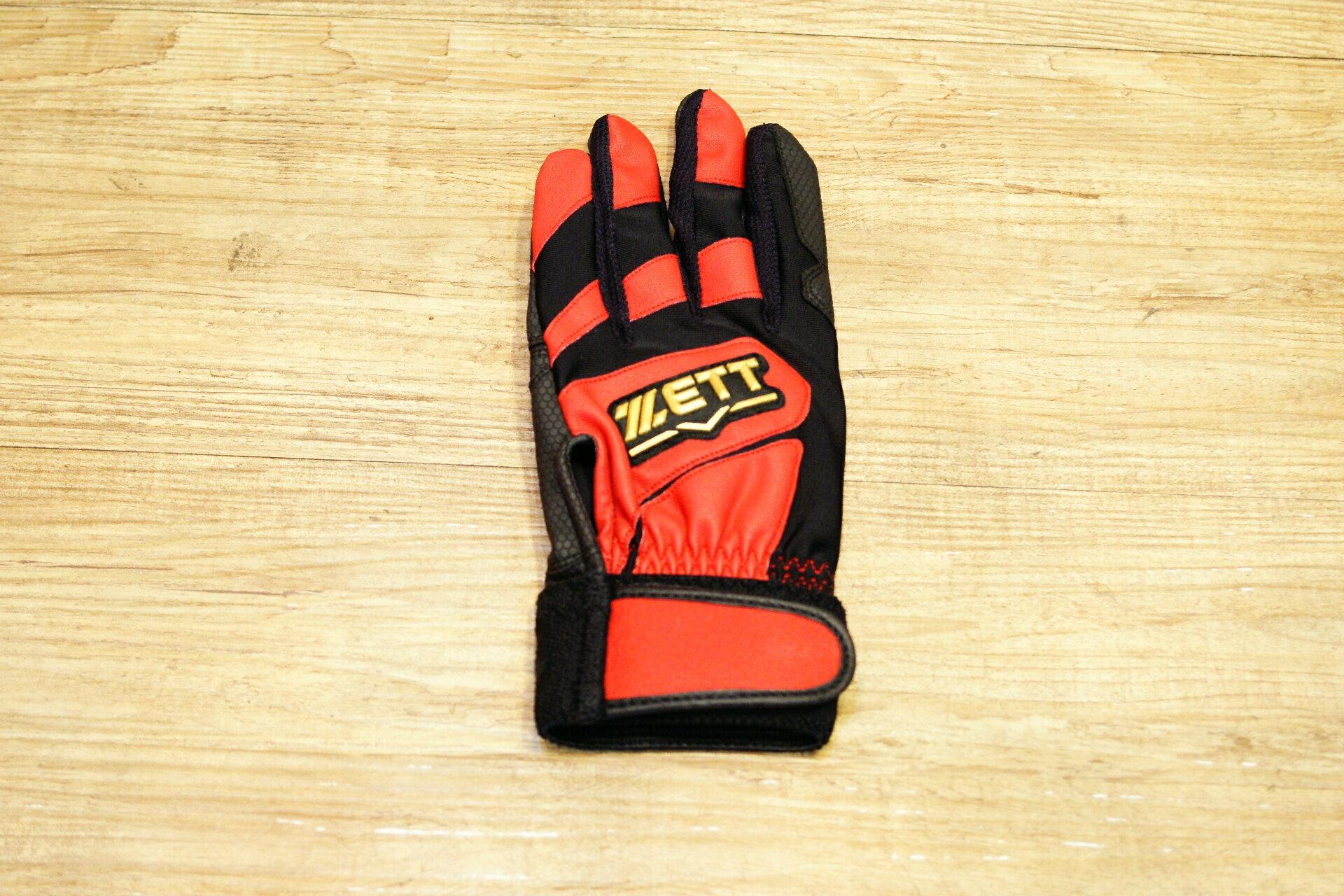 棒球世界 全新 ZETT新本壘版標兒童少年 打擊手套 特價 紅色 國小適用
