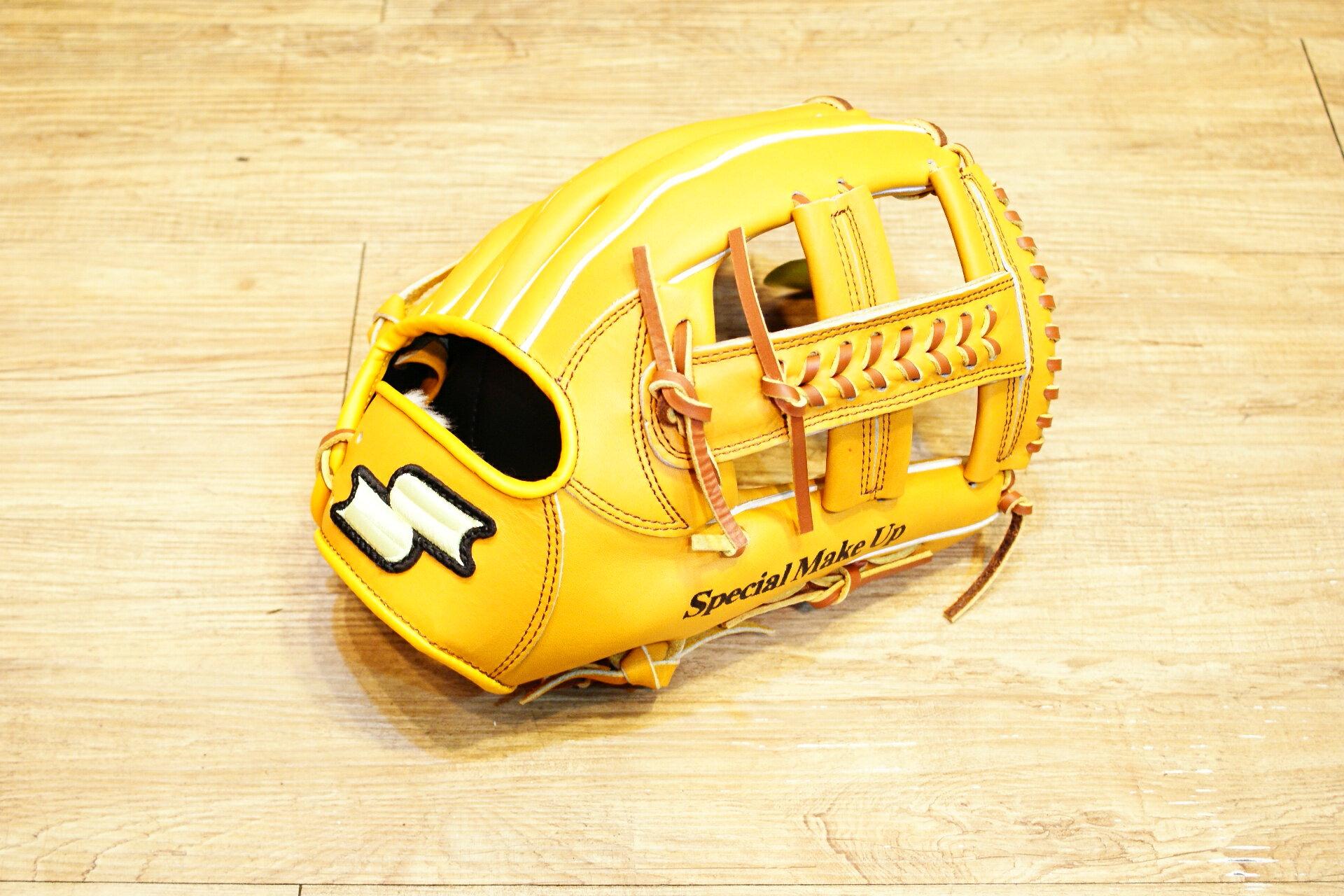 棒球世界 全新 店訂版SSK棒壘通用牛皮內野手套特價   十字檔 原皮色