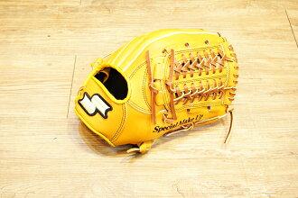 棒球世界 全新 店訂版SSK棒壘通用牛皮內野手套特價   內野網檔 原皮色
