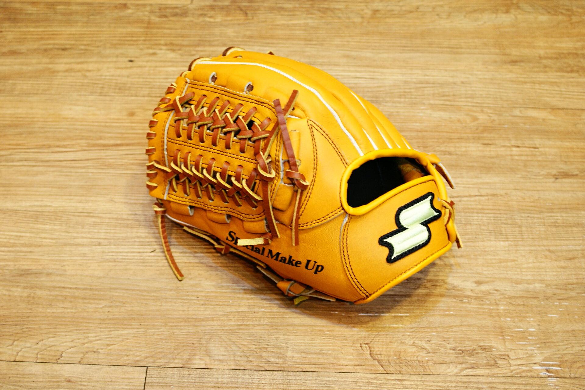 棒球世界 全新 店訂版SSK棒壘通用牛皮內野手套特價   內野網檔 原皮色  反手用