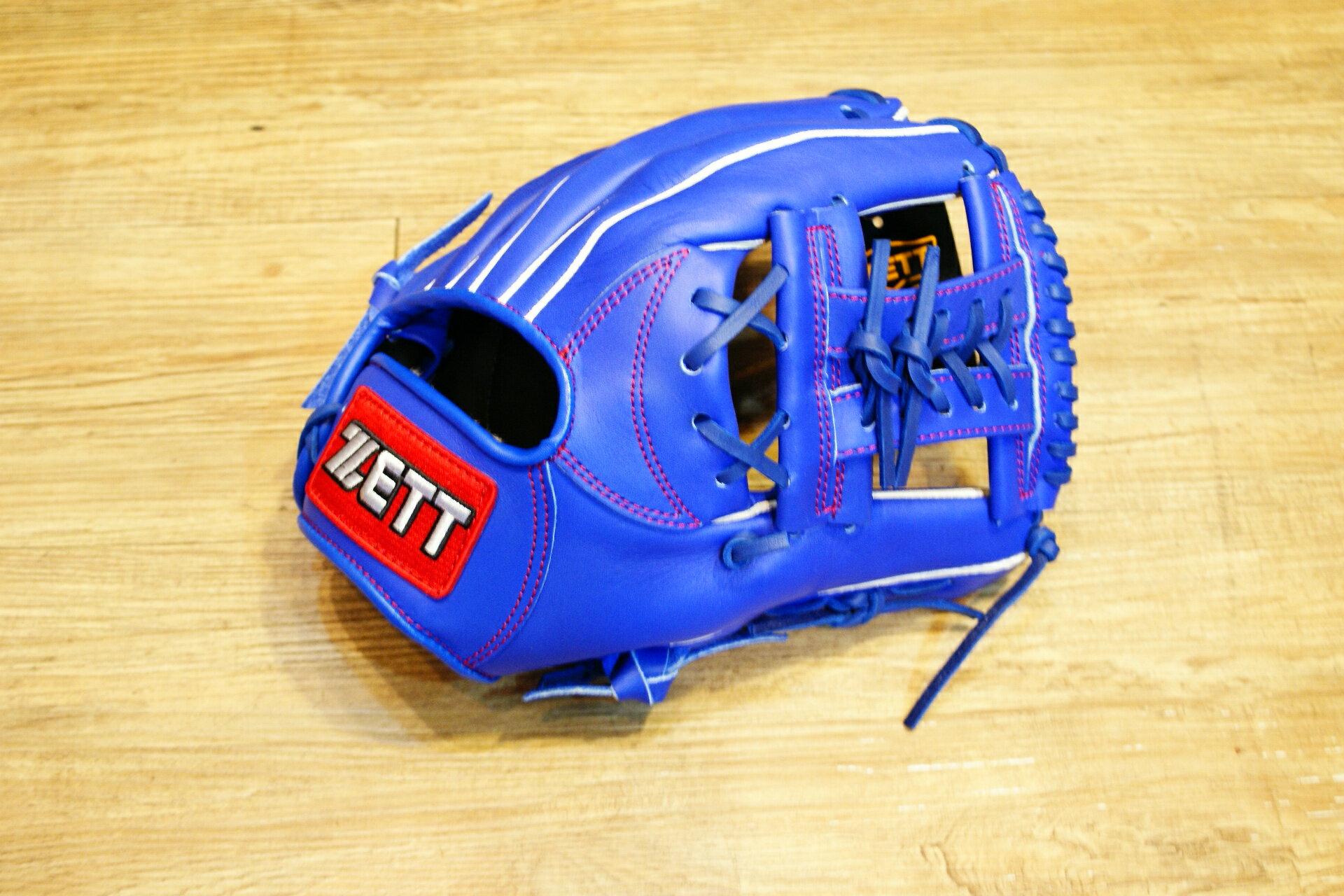 棒球世界 全新ZETT棒壘球內野手牛皮手套 藍色 特價 加送手套袋 8704系列