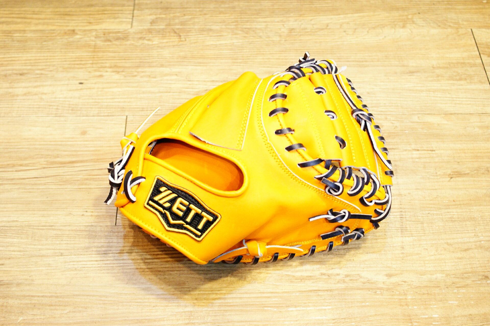 棒球世界 ZETT硬式金標棒球捕手手套 特價 本壘版標 原皮色