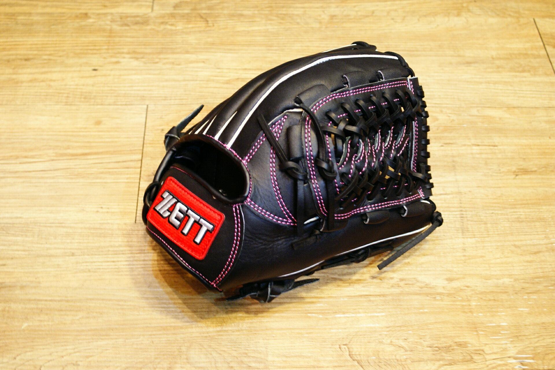 棒球世界 全新ZETT棒壘球內野蛇紋球檔牛皮手套 黑色 特價 加送手套袋 8727系列