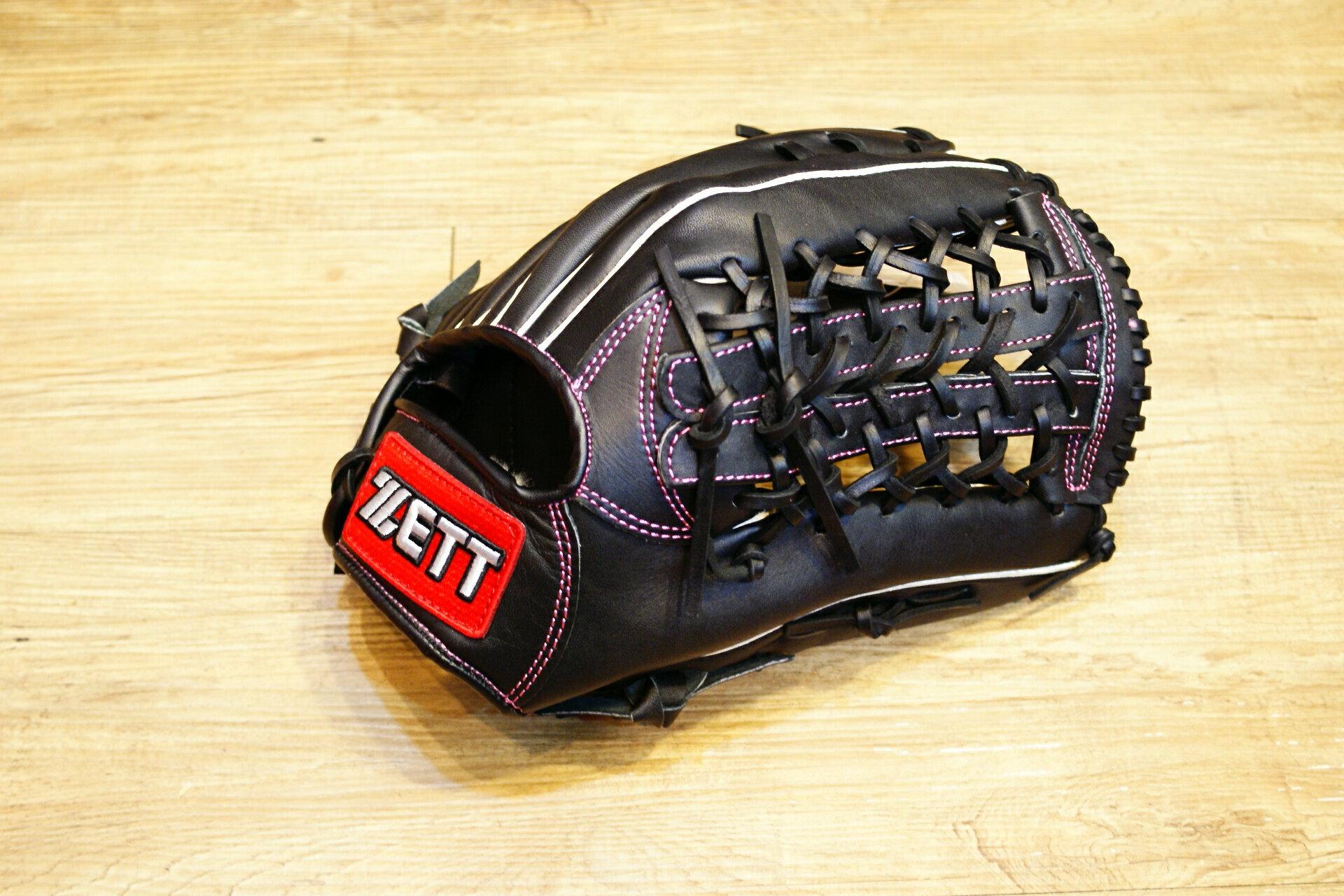 棒球世界 全新ZETT棒壘球外野手用牛皮手套 黑色 特價 加送手套袋 8737系列