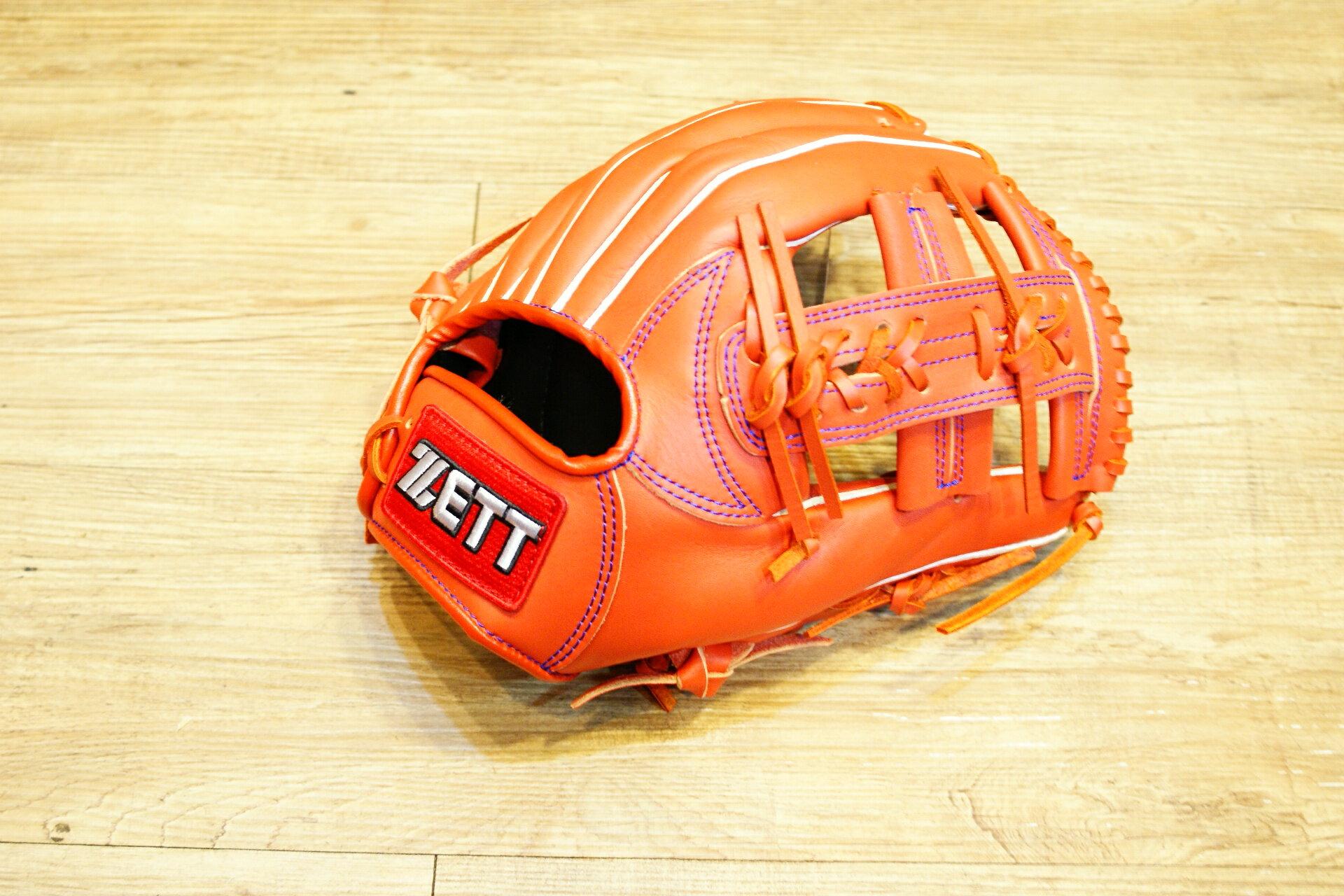 棒球世界 全新ZETT棒壘球內野十字牛皮手套 橘色 特價 加送手套袋 8715系列