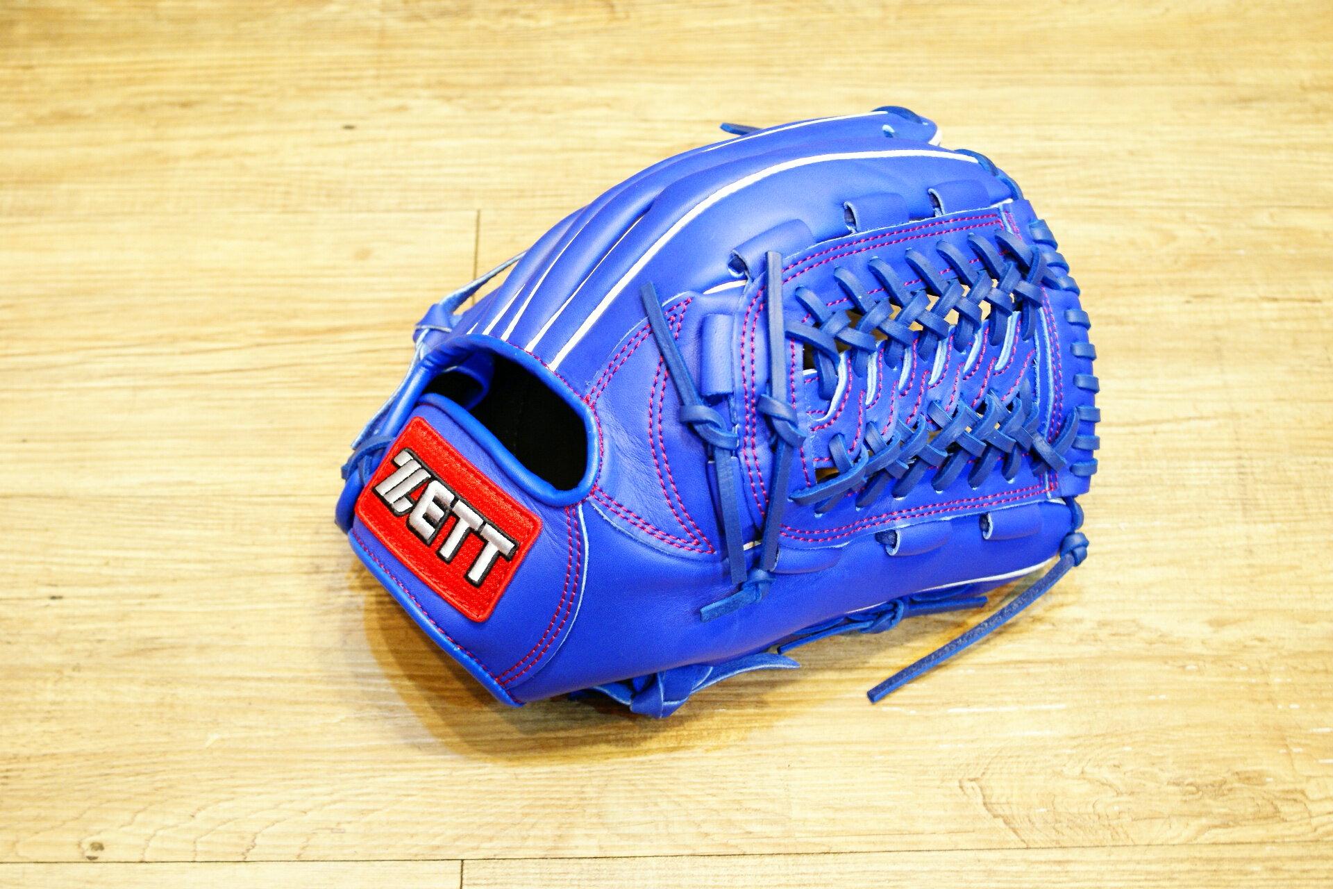 棒球世界 全新ZETT棒壘球內野蛇紋球檔牛皮手套 藍色 特價 加送手套袋 8727系列