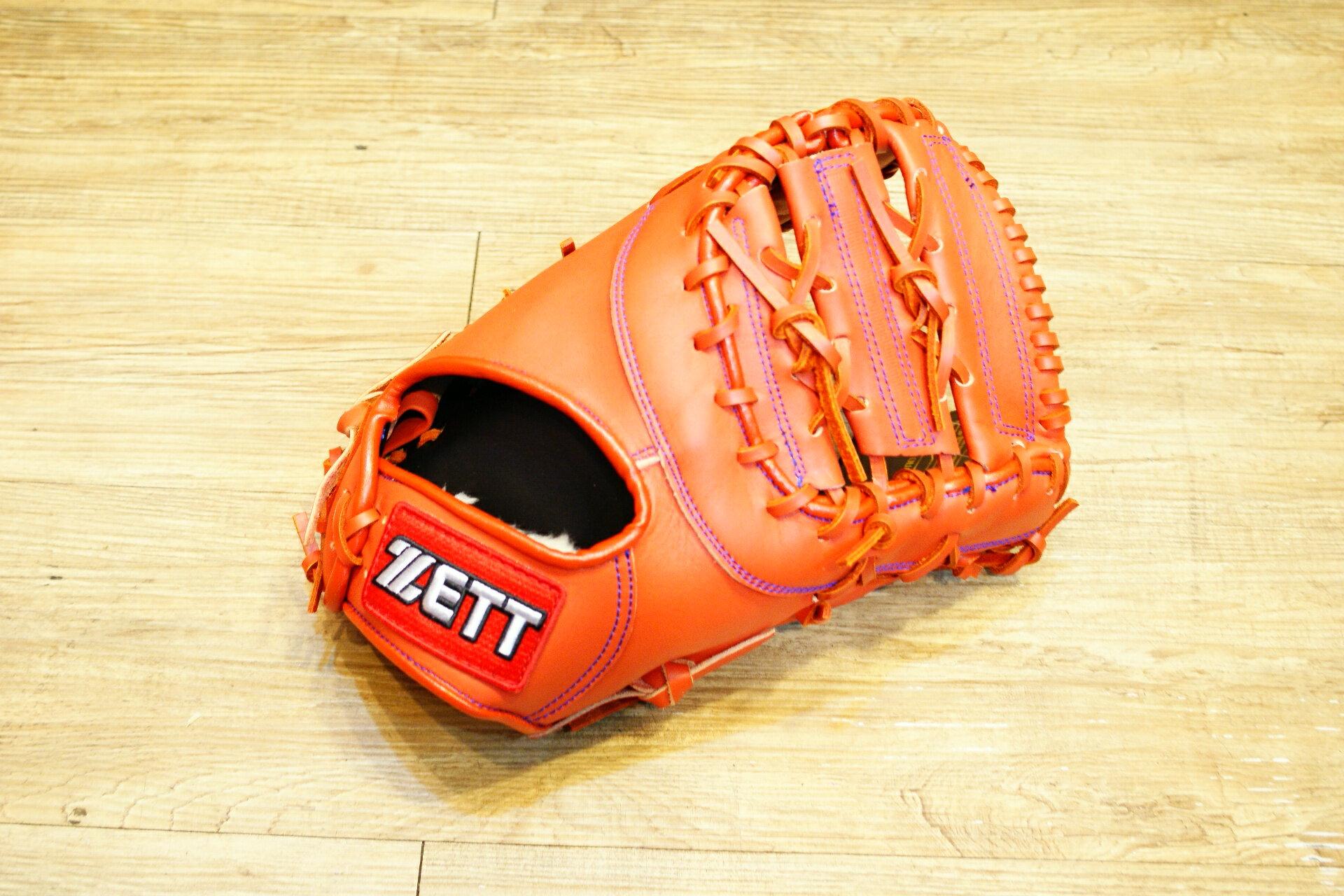 棒球世界 全新ZETT棒球一壘手手套 橘色 特價 加送手套袋 8703 系列