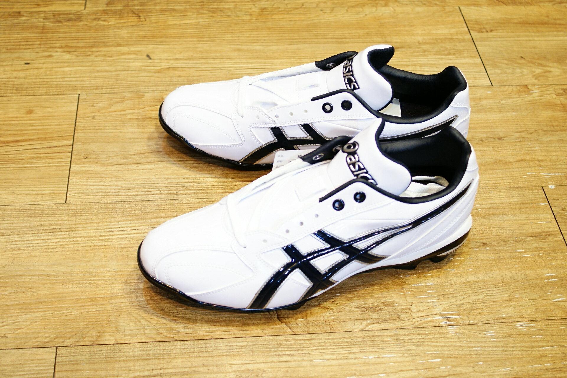 棒球世界 全新ASICS 輕量化 棒.壘球膠釘鞋 SFP100-0150 特價 白丈青配色