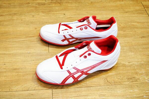 棒球世界 全新ASICS輕量化~低筒固定釘棒球鞋 特價 白紅配色