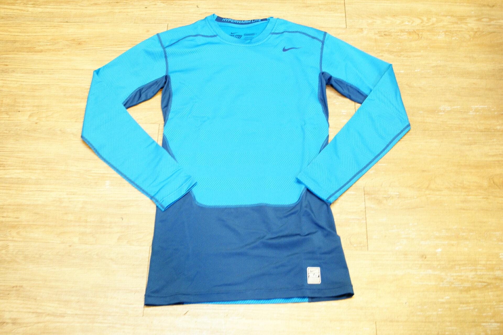 棒球世界NIKE HYPERWARM PRO COMBAT長袖緊身衣 藍色 特價